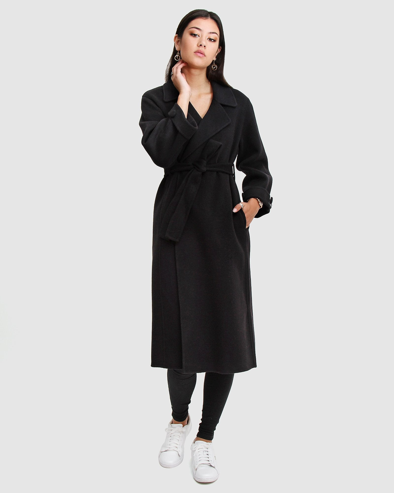 Stay Wild Oversized Wool Coat - Black