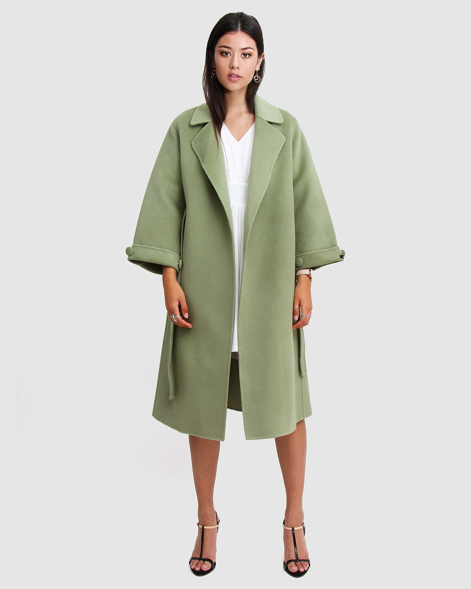 Stay Wild Oversized Wool Coat - Grass