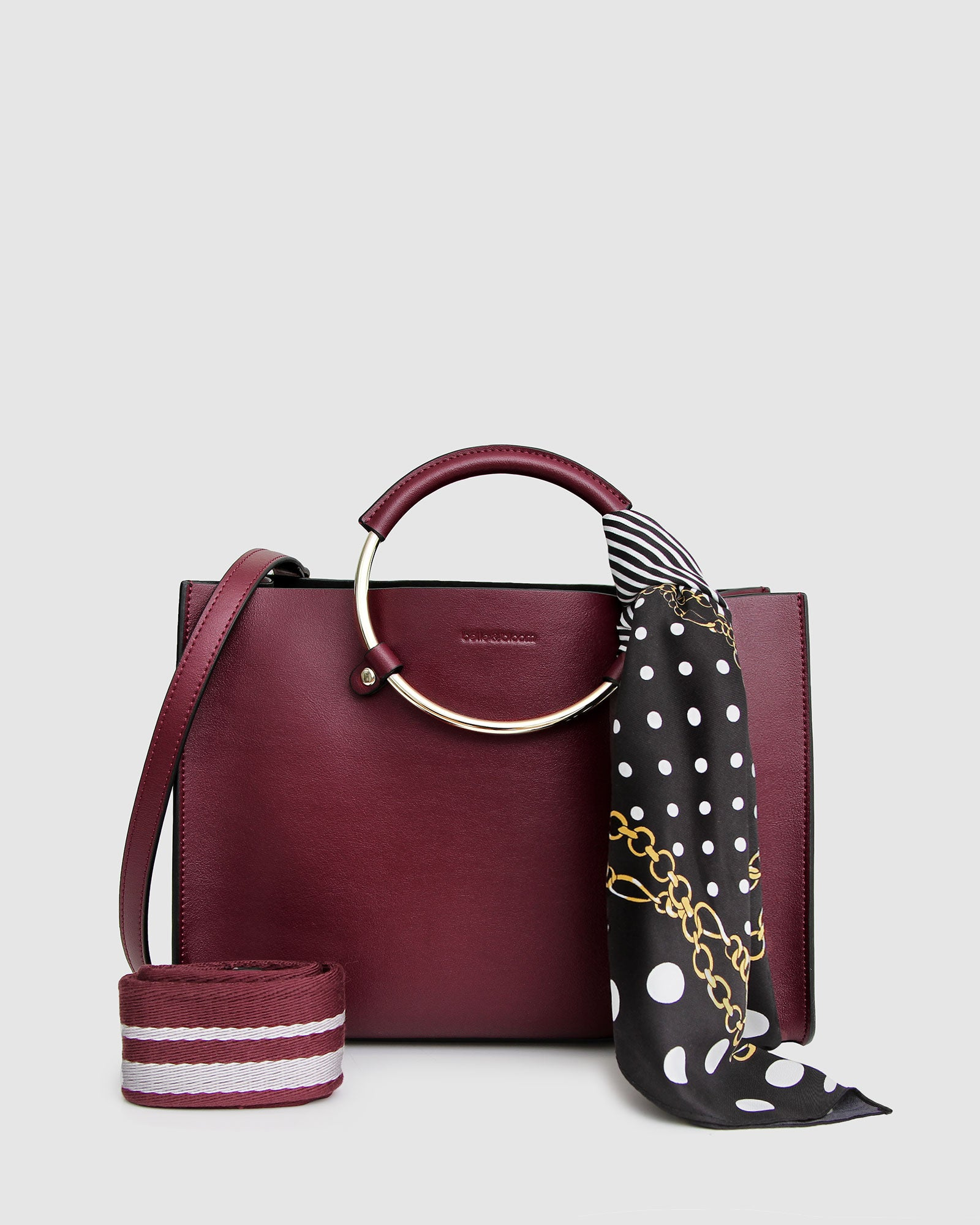 Palm Beach Satchel With Scarf - Wine