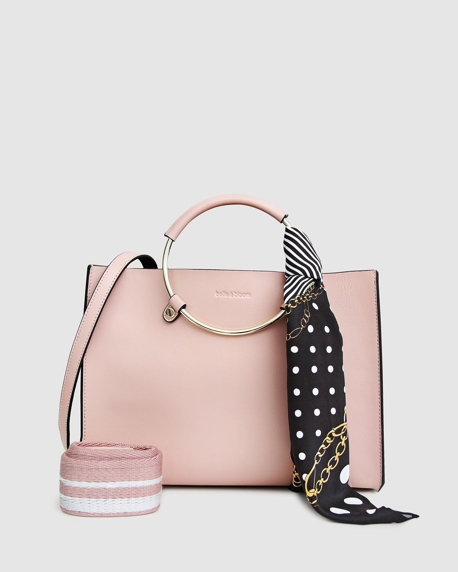 Palm Beach Satchel With Scarf - Blush Pink