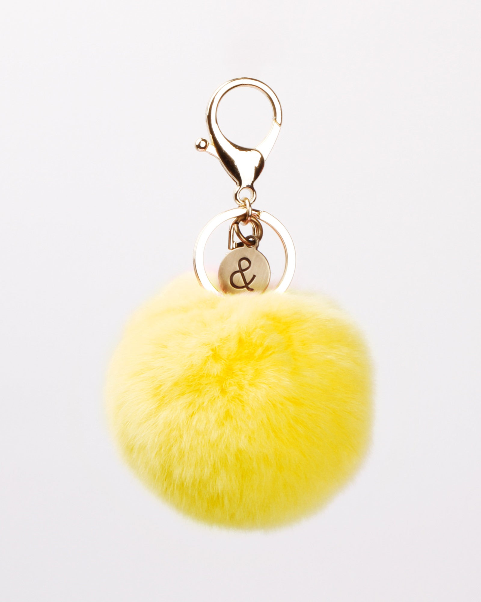 Faux Fur Pom Pom Keychain - Yellow