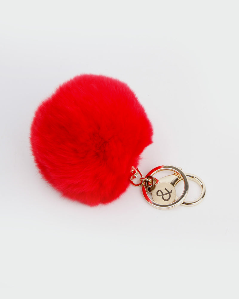 Faux Fur Pom Pom Keychain - Red