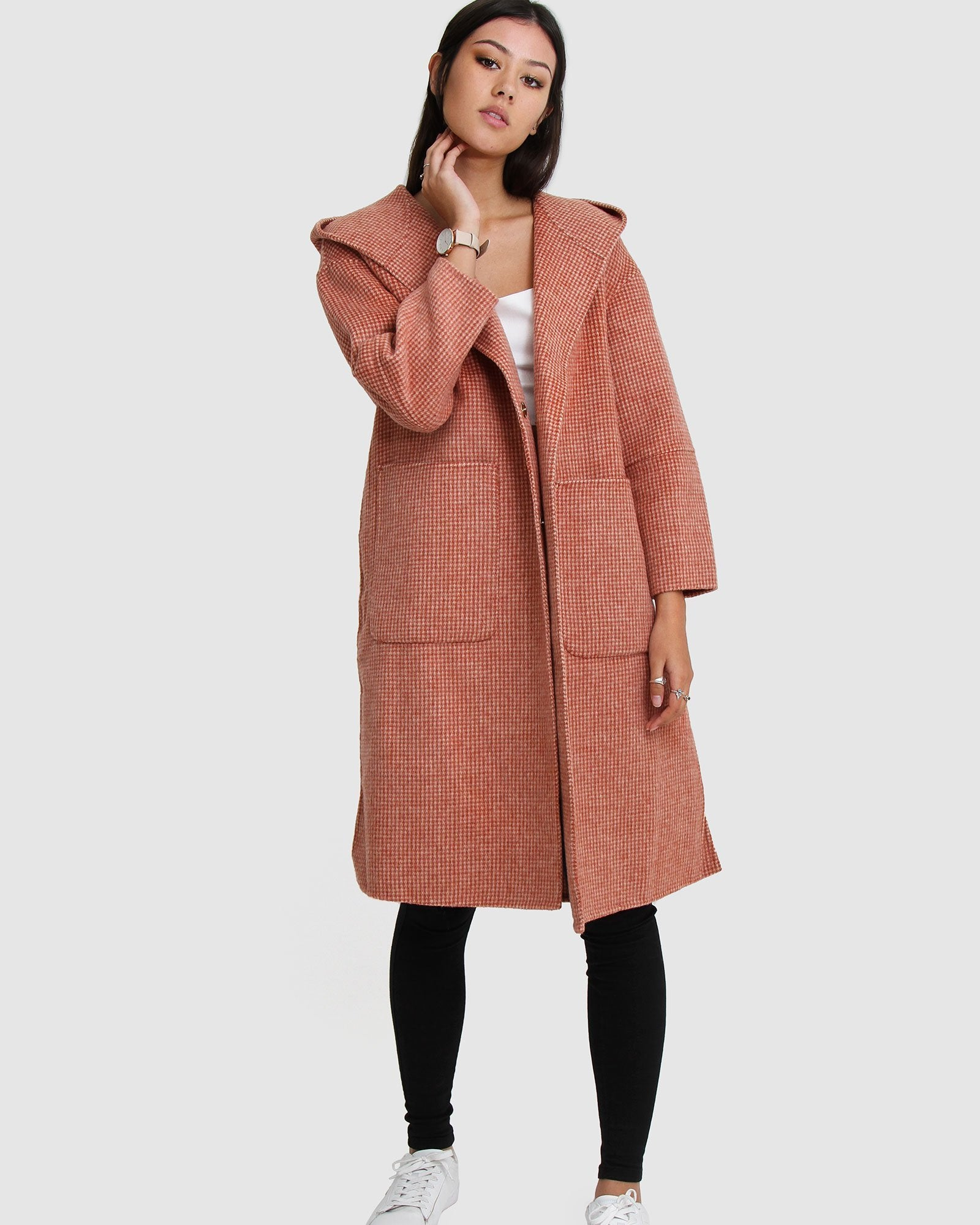 Walk This Way Wool Blend Oversized Coat - Watermelon