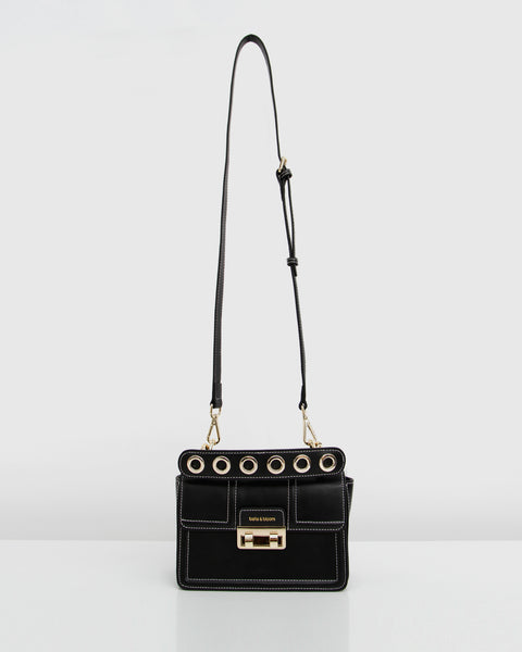 Leather Cross Body Bag - Royal Song Black