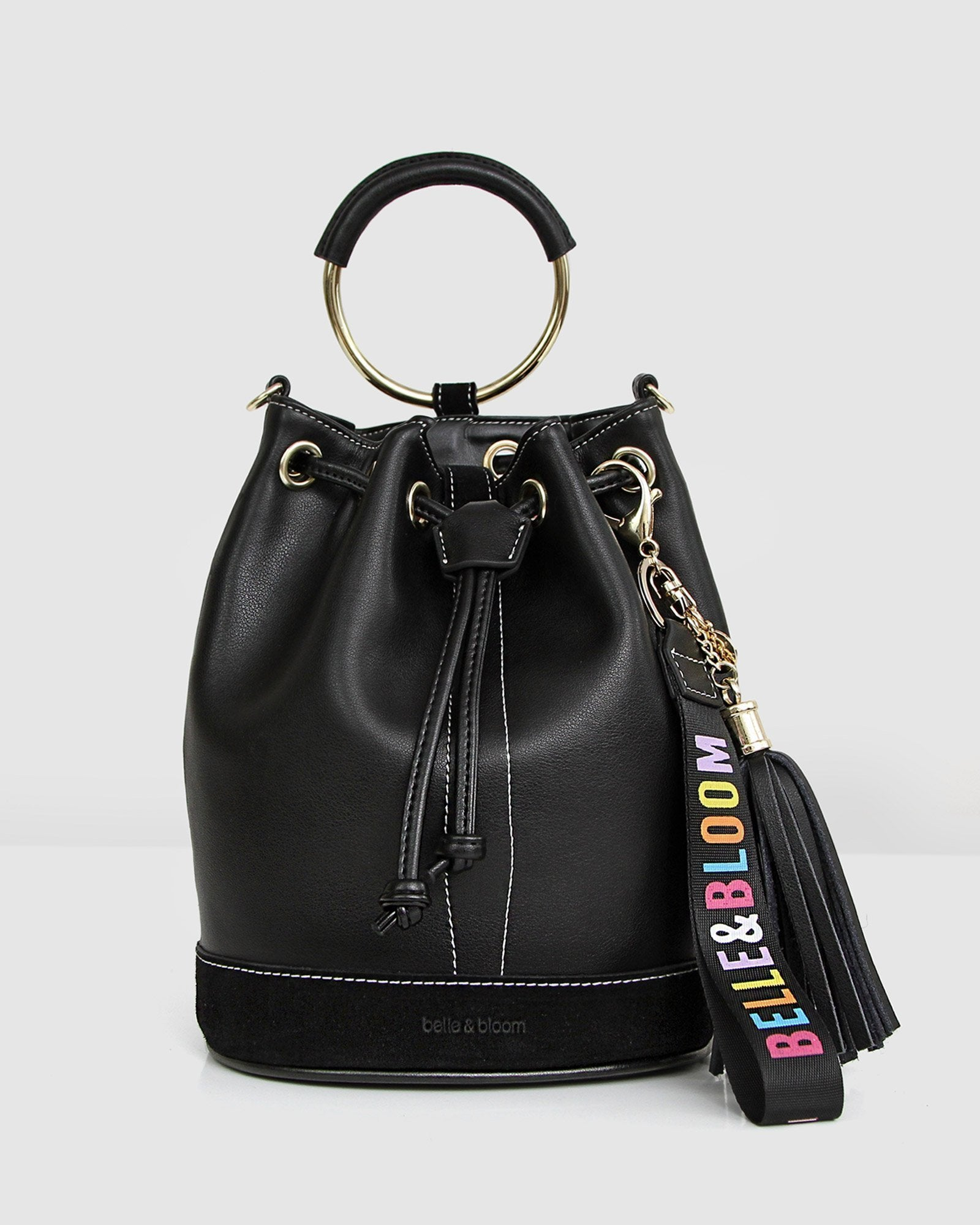 Rainbow Leather Bucket Bag - Black
