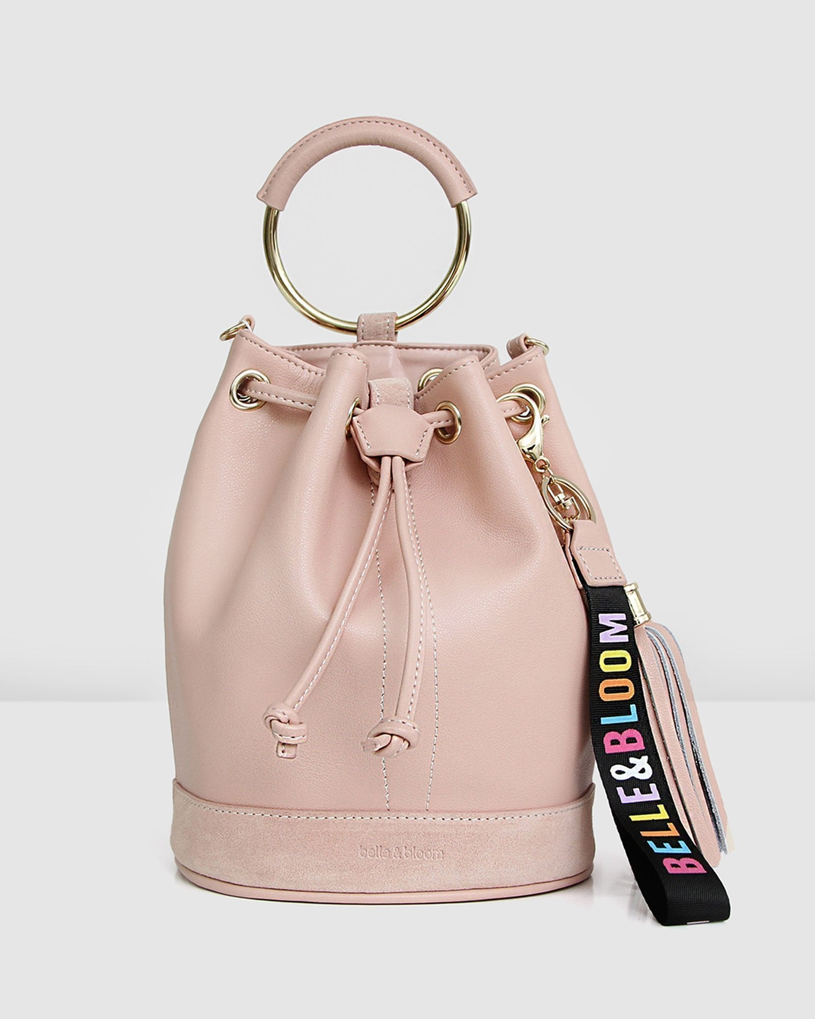 Rainbow Leather Bucket Bag - Blush Pink