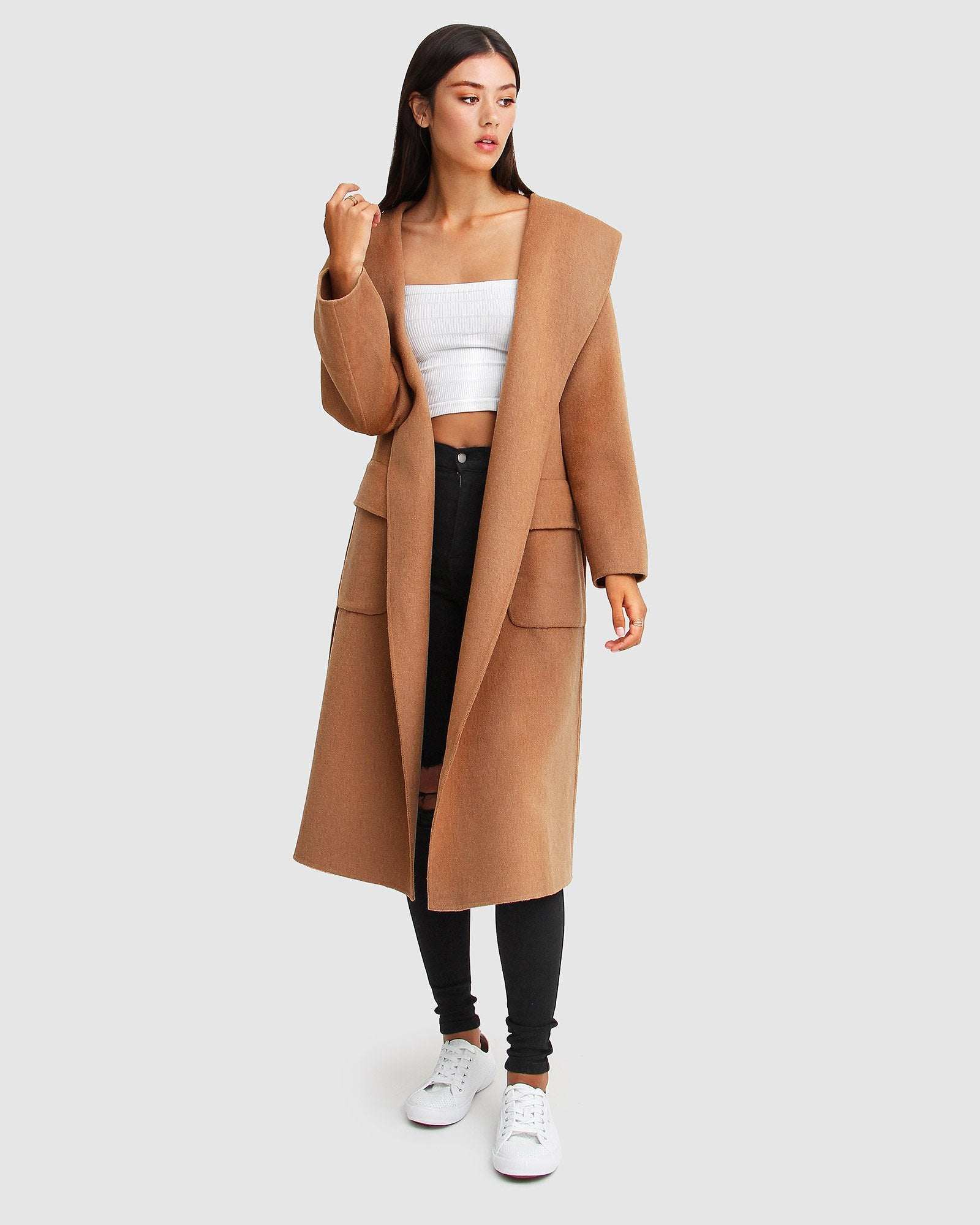 Runaway Wool Blend Robe Coat - Dark Camel