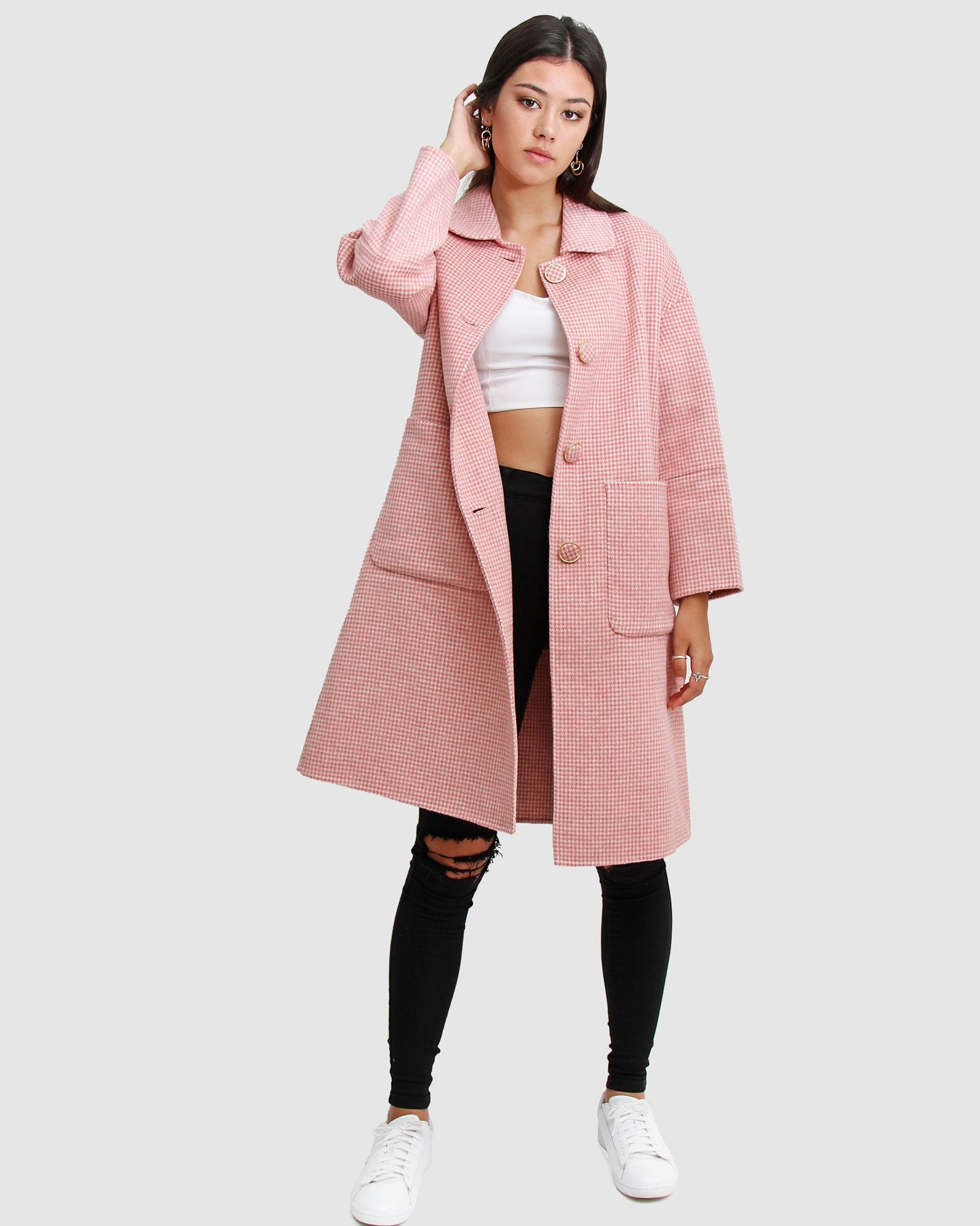So Chic  Wool Blend Coat - Blush