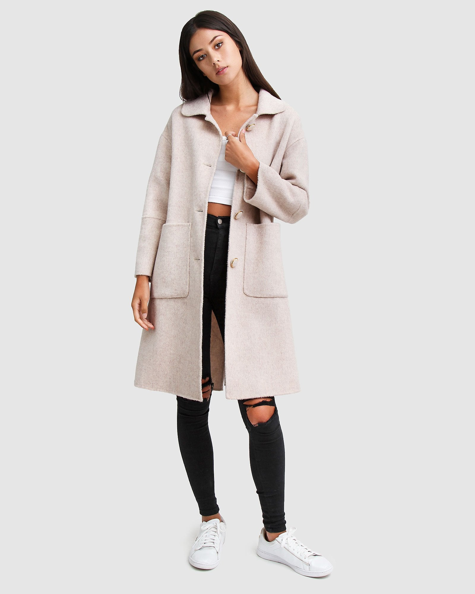 So Chic Wool Blend Coat - Beige
