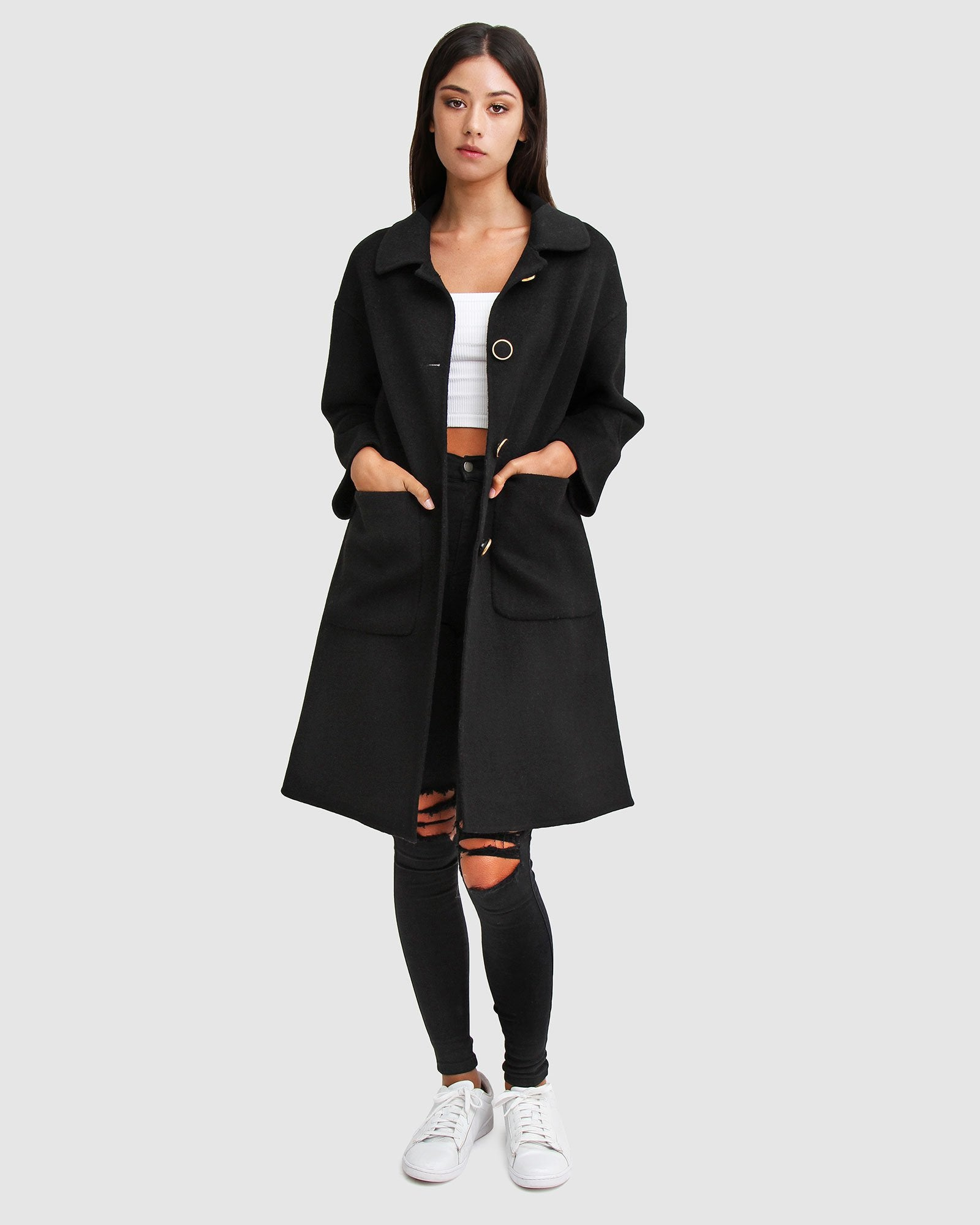 So Chic  Wool Blend Coat - Black