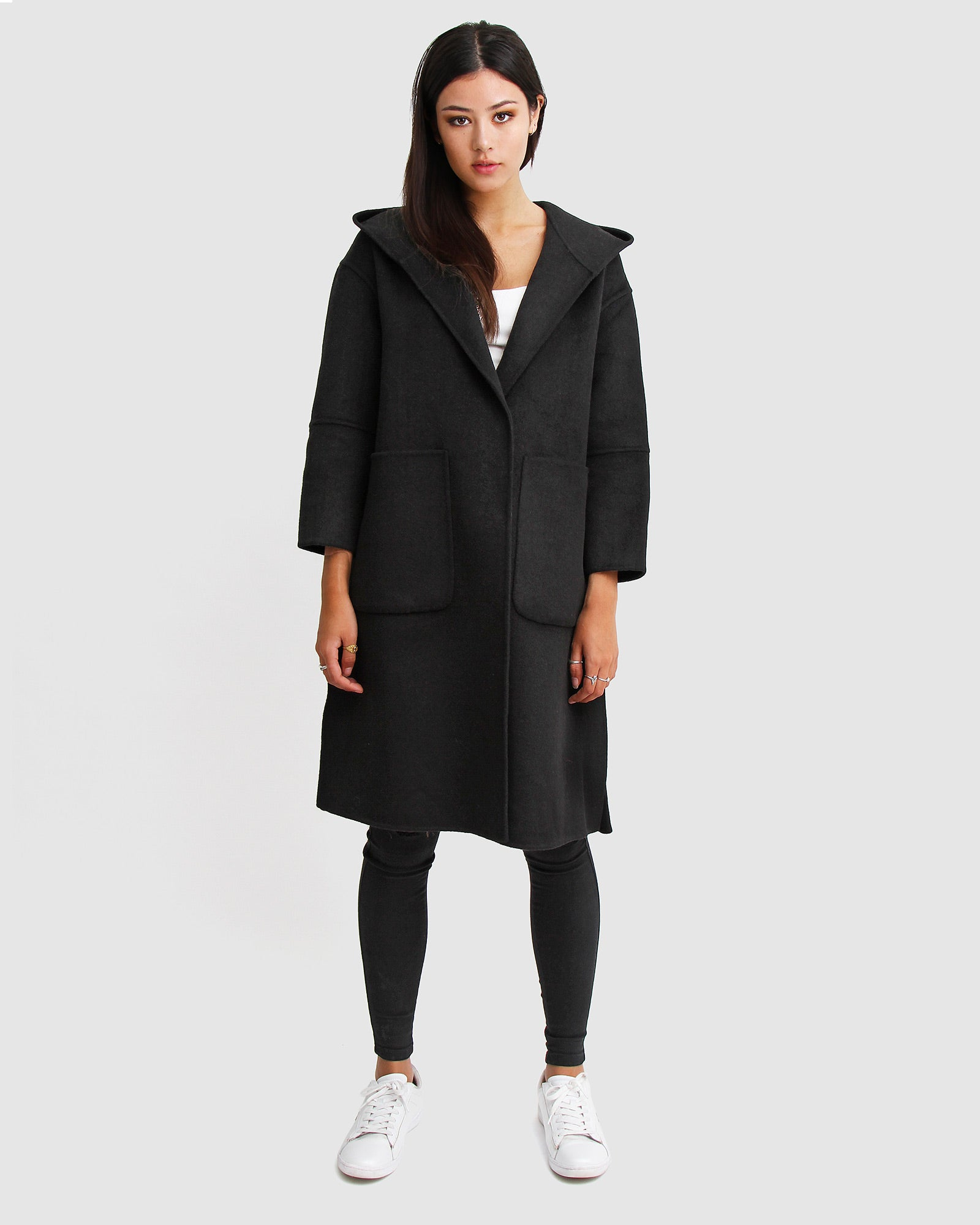 Walk This Way Wool Blend Oversized Coat - Black