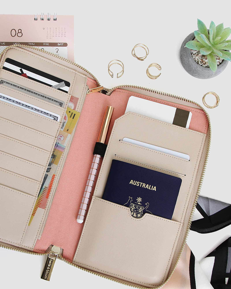 Wilona Leather Organiser - Latte