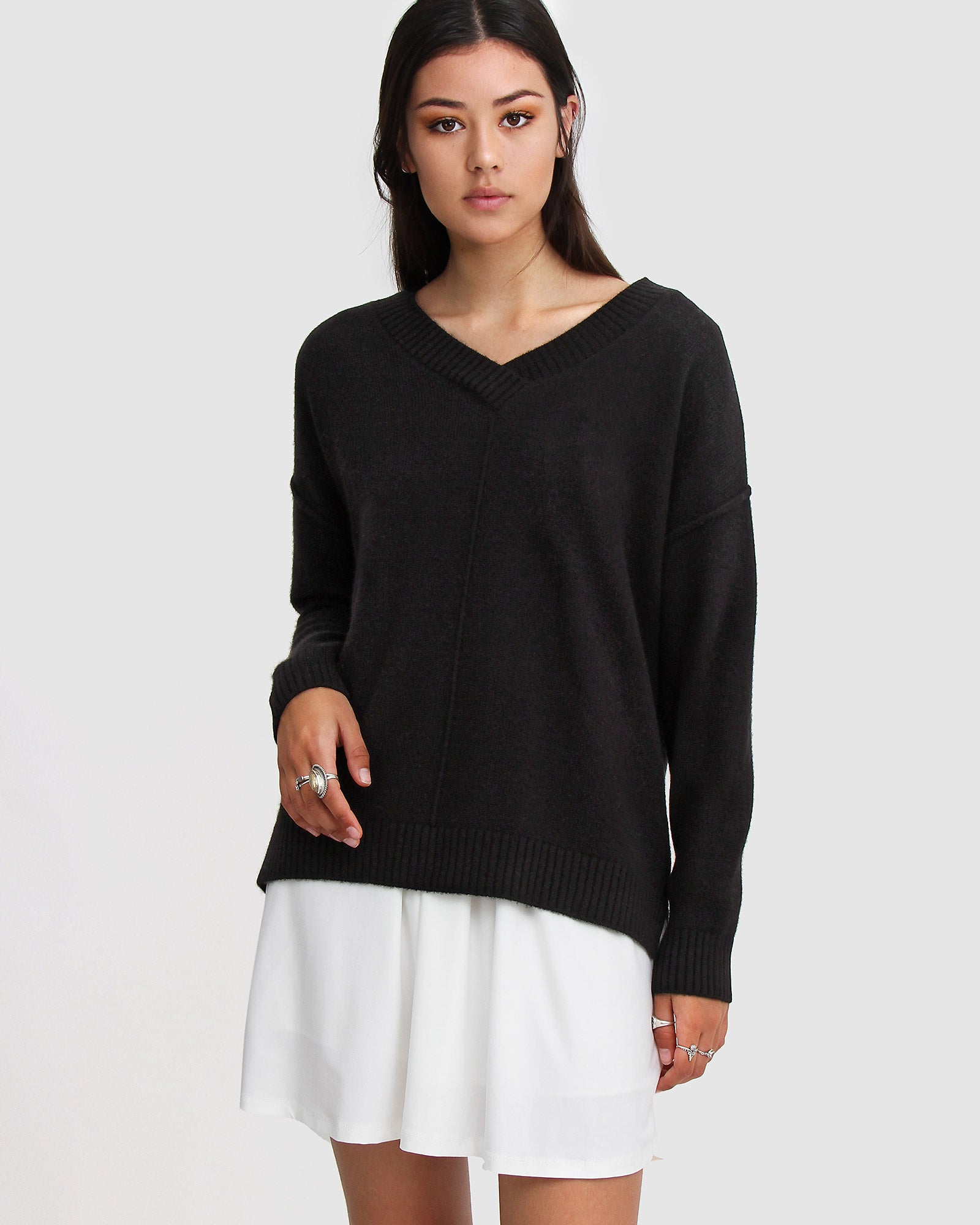 Wonder Of You Cashmere Blend Oversized Jumper Black