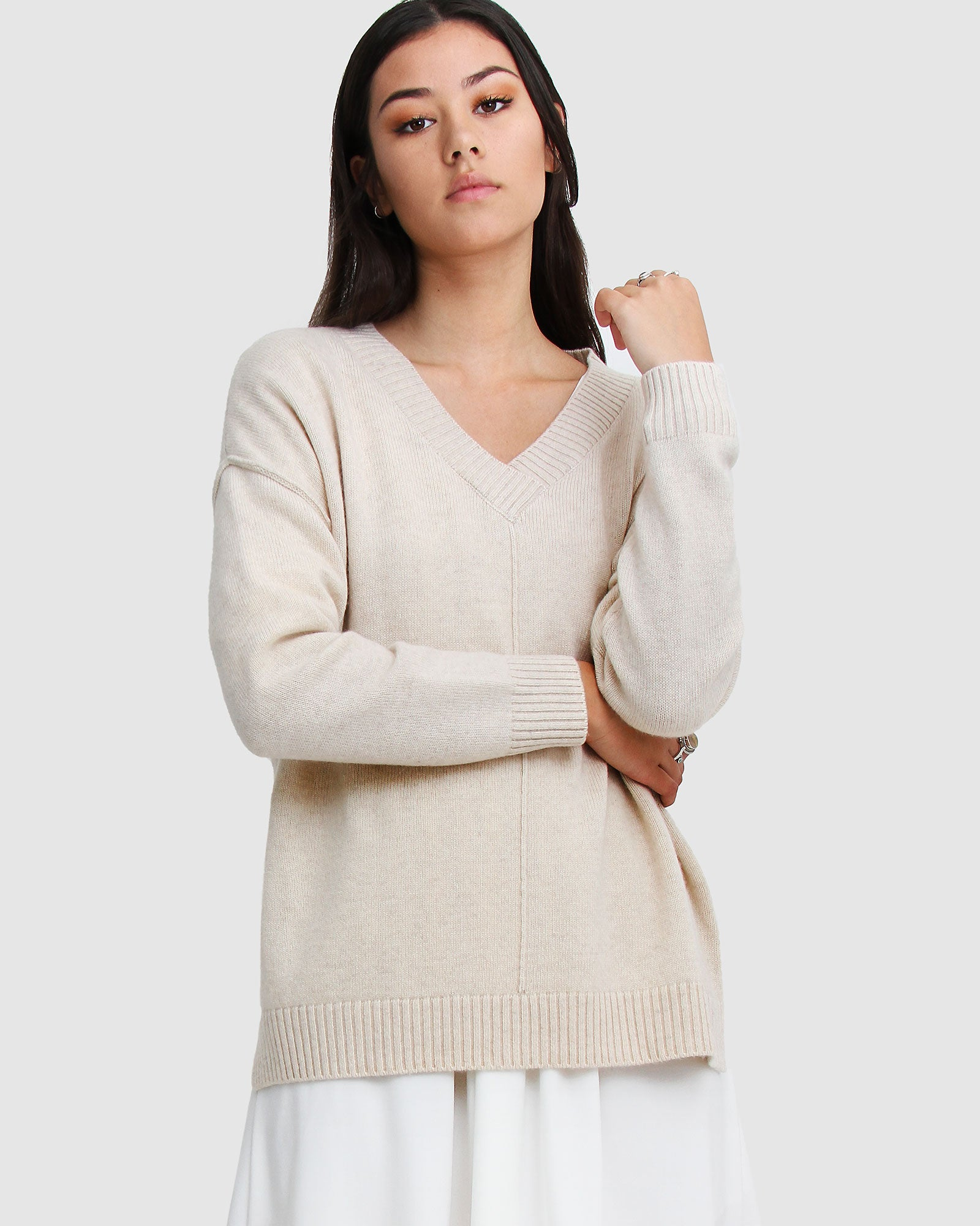 Wonder Of You Cashmere Blend Oversized Jumper - Champagne