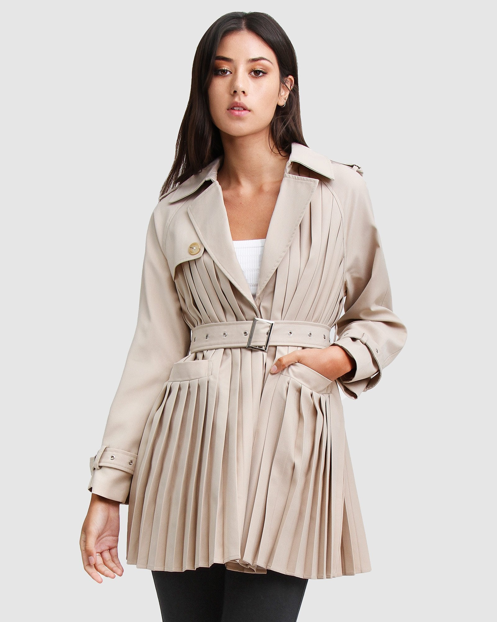 Wish You Were Mine Belted Jacket  - Beige