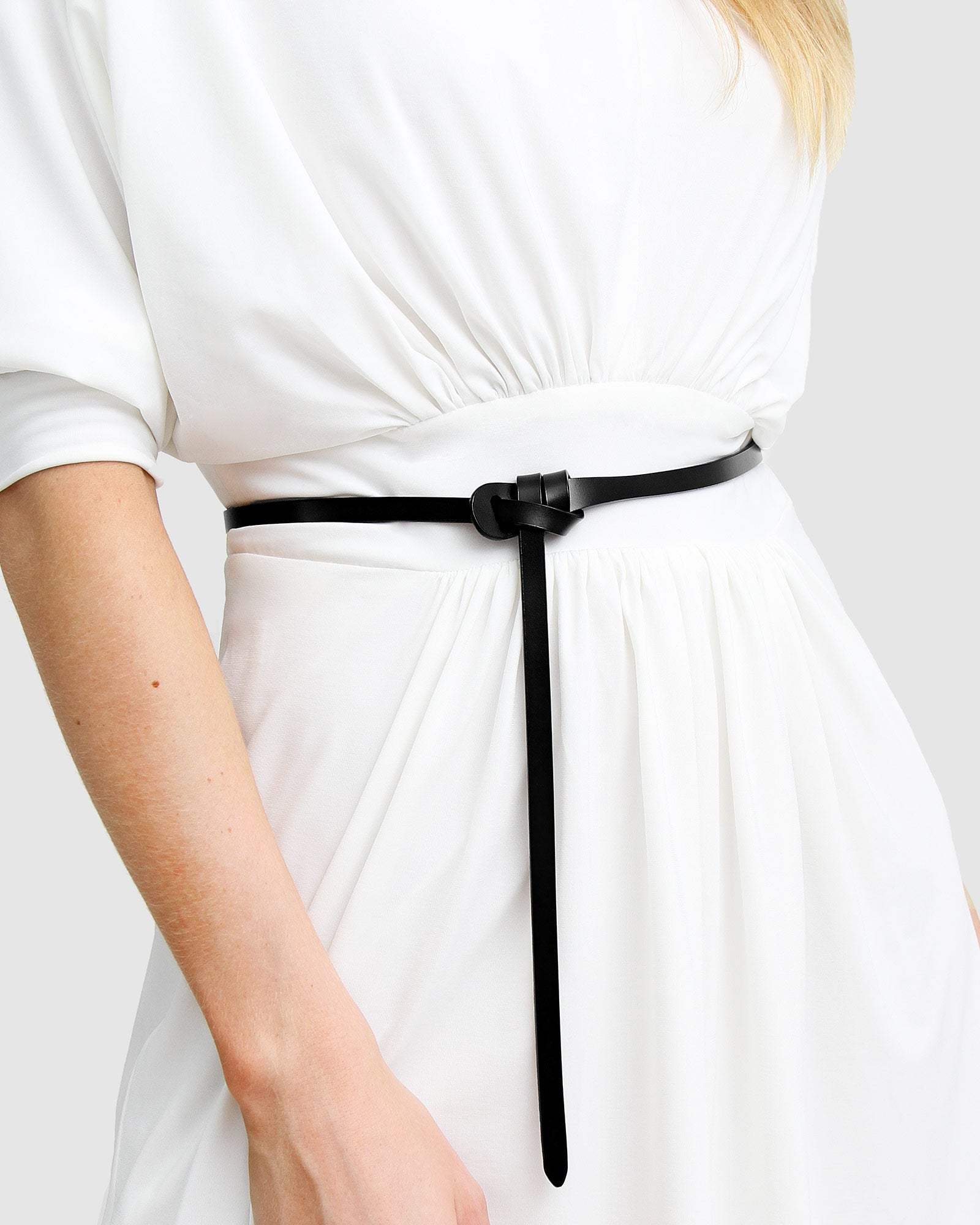 Tie The Knot Leather Belt - Black