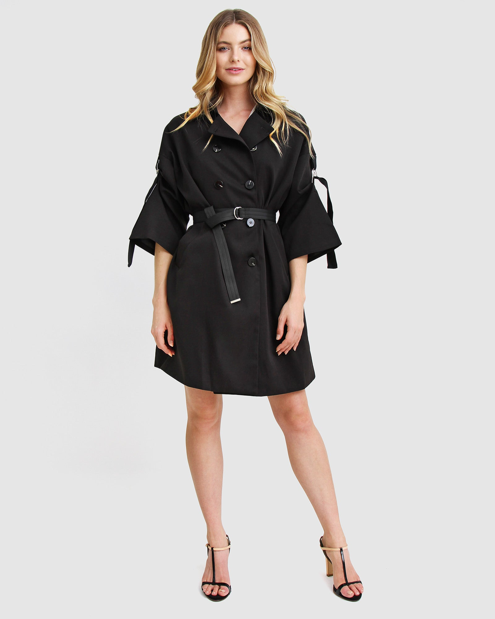 Russian Romance Oversized Trench Coat - Black