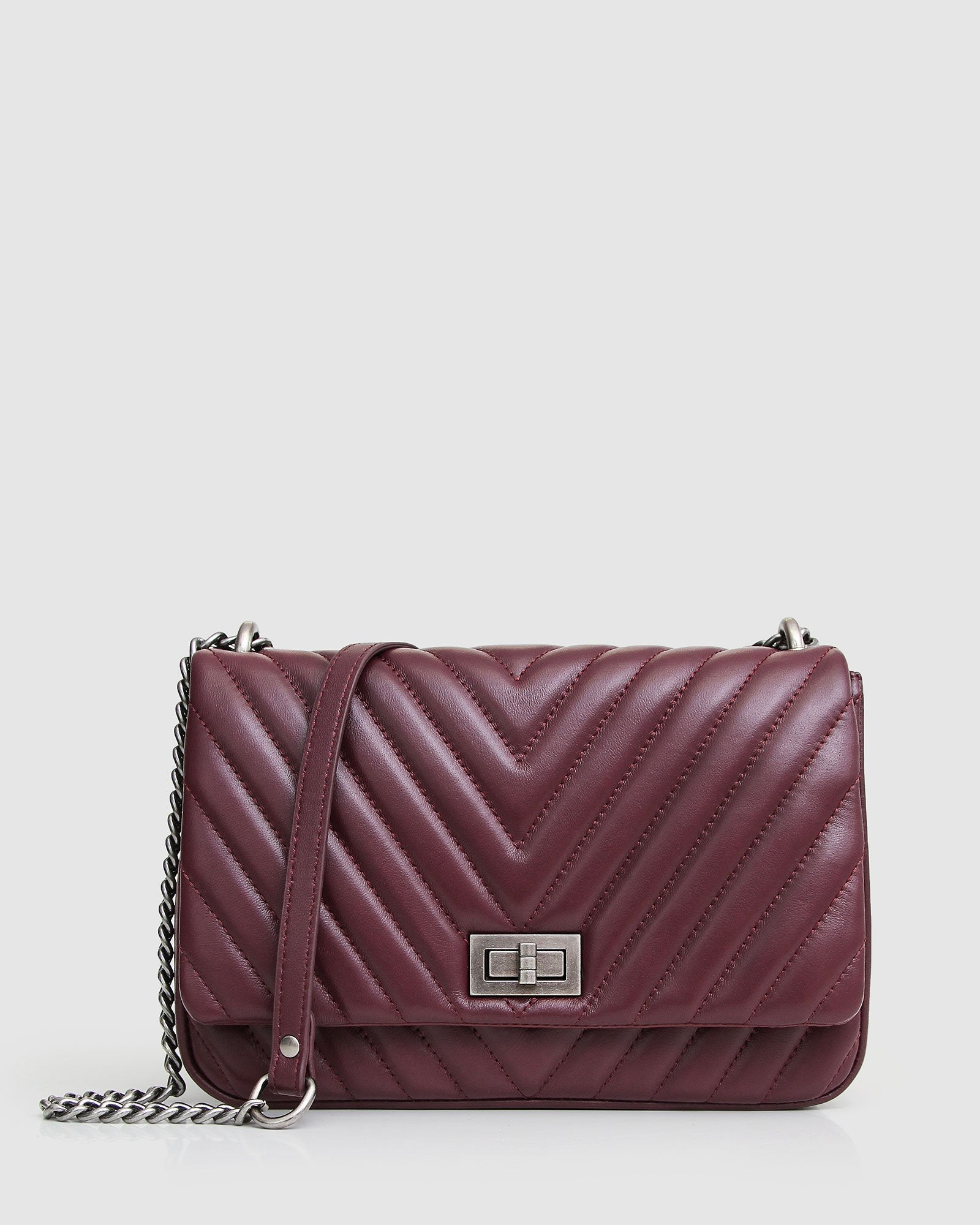 Belong to You Quilted Cross-Body Bag - Merlot