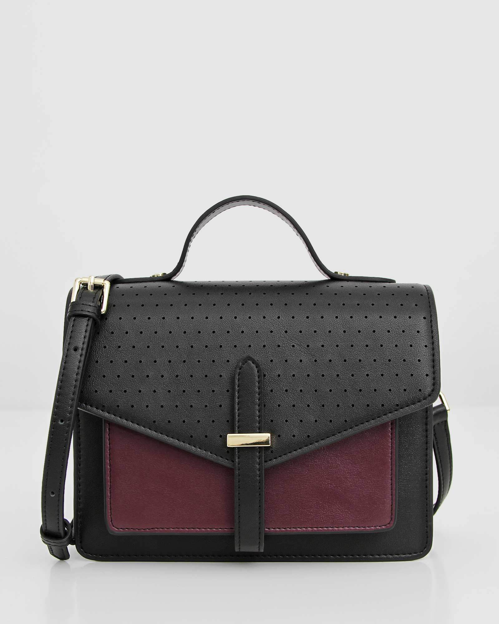 Love Letter Leather Mini Satchel - Black/Wine