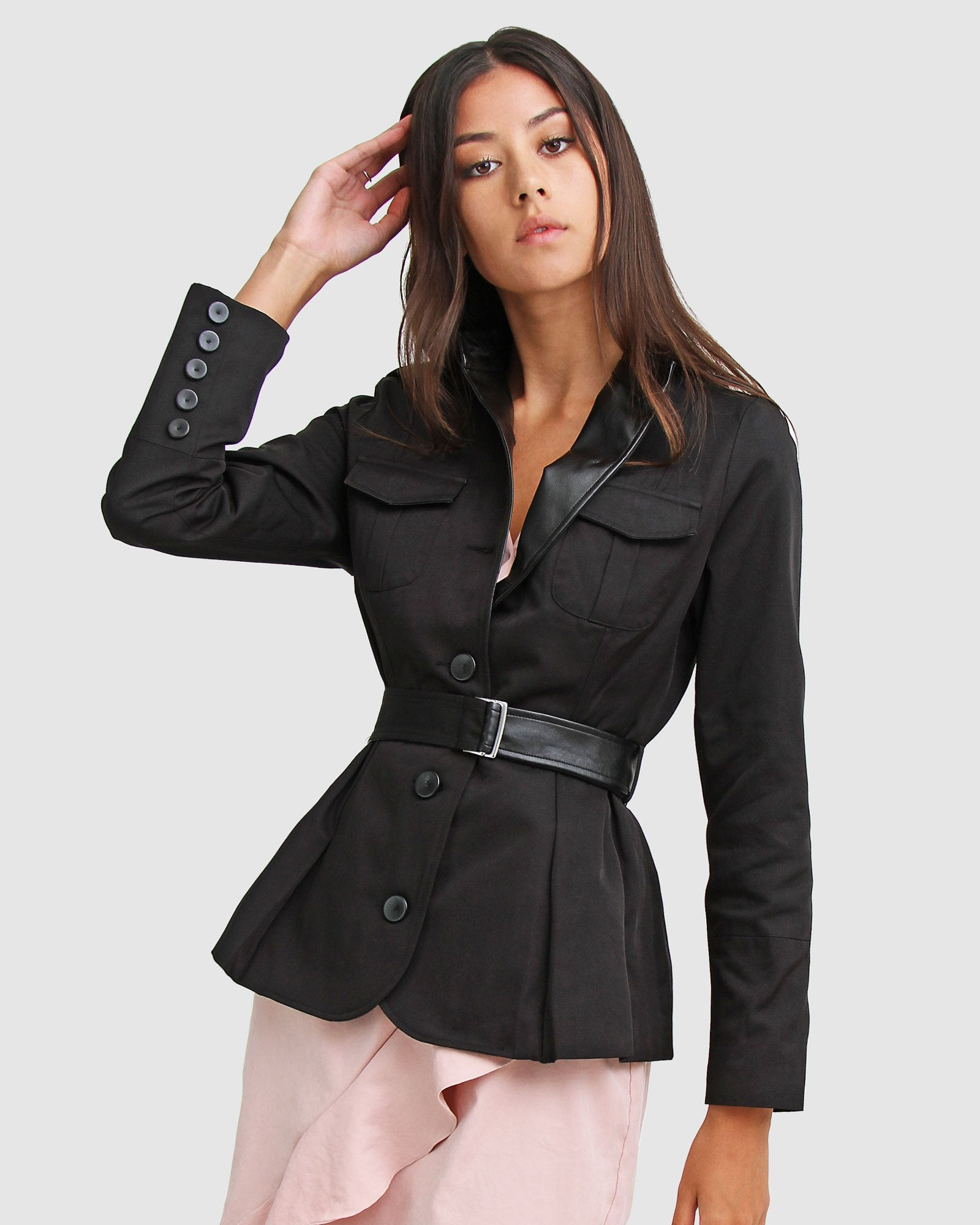 Secret Crush Belted Blazer - Black
