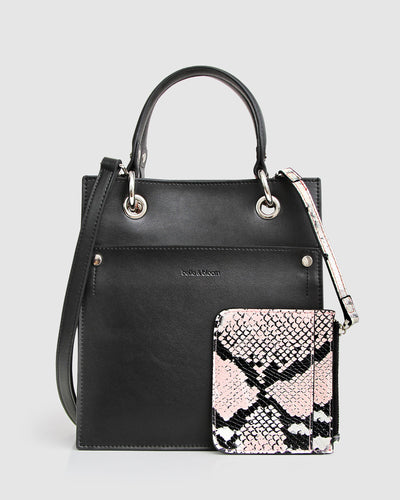black-leather-bag-mini-tote-snake-pouch-cross-body-strap-front.jpg