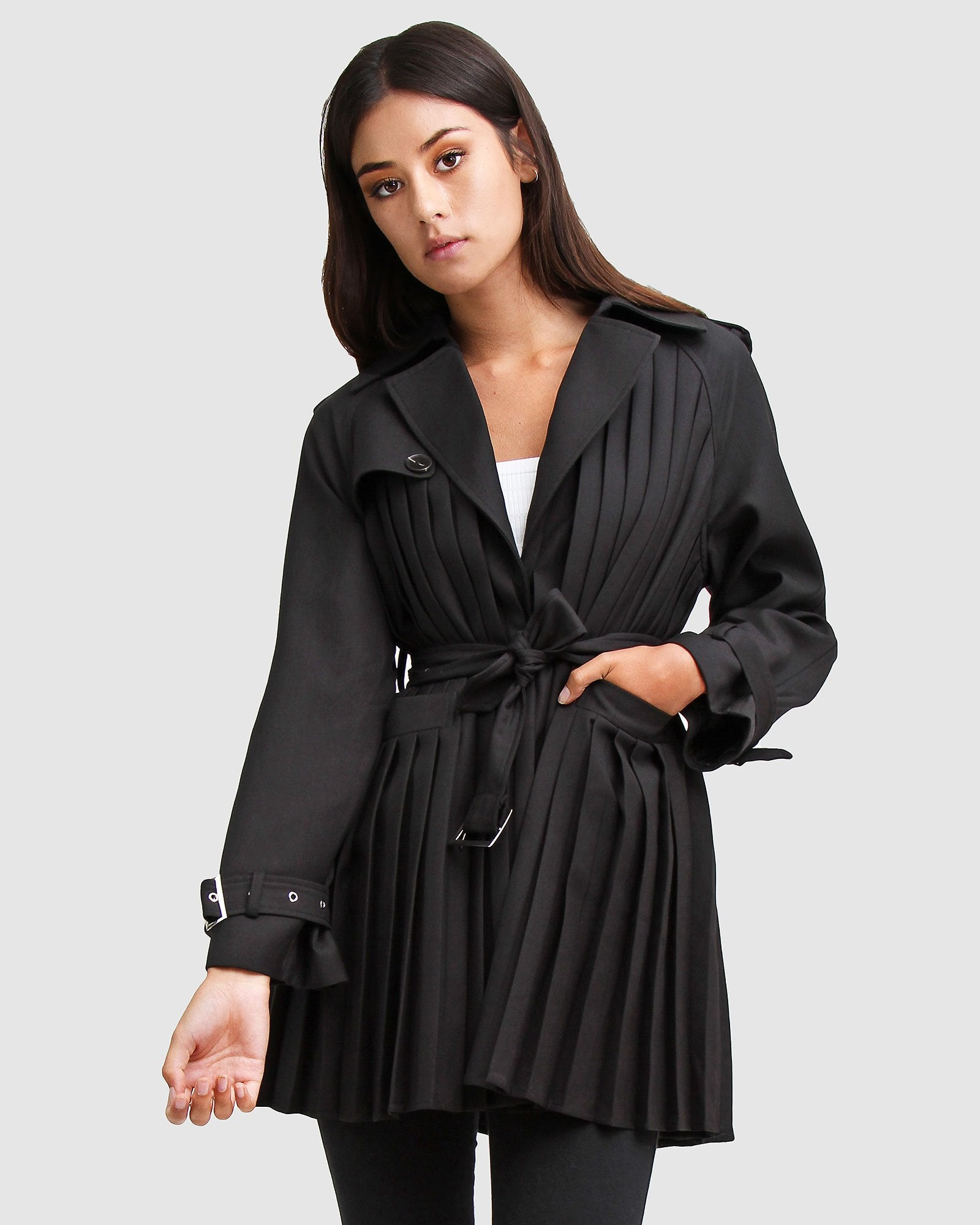 Wish You Were Mine Belted Jacket  - Black