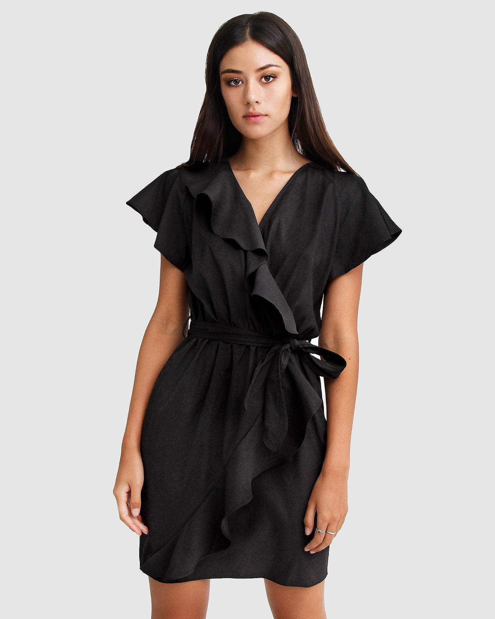 Best Selfie Ruffle Dress - Black