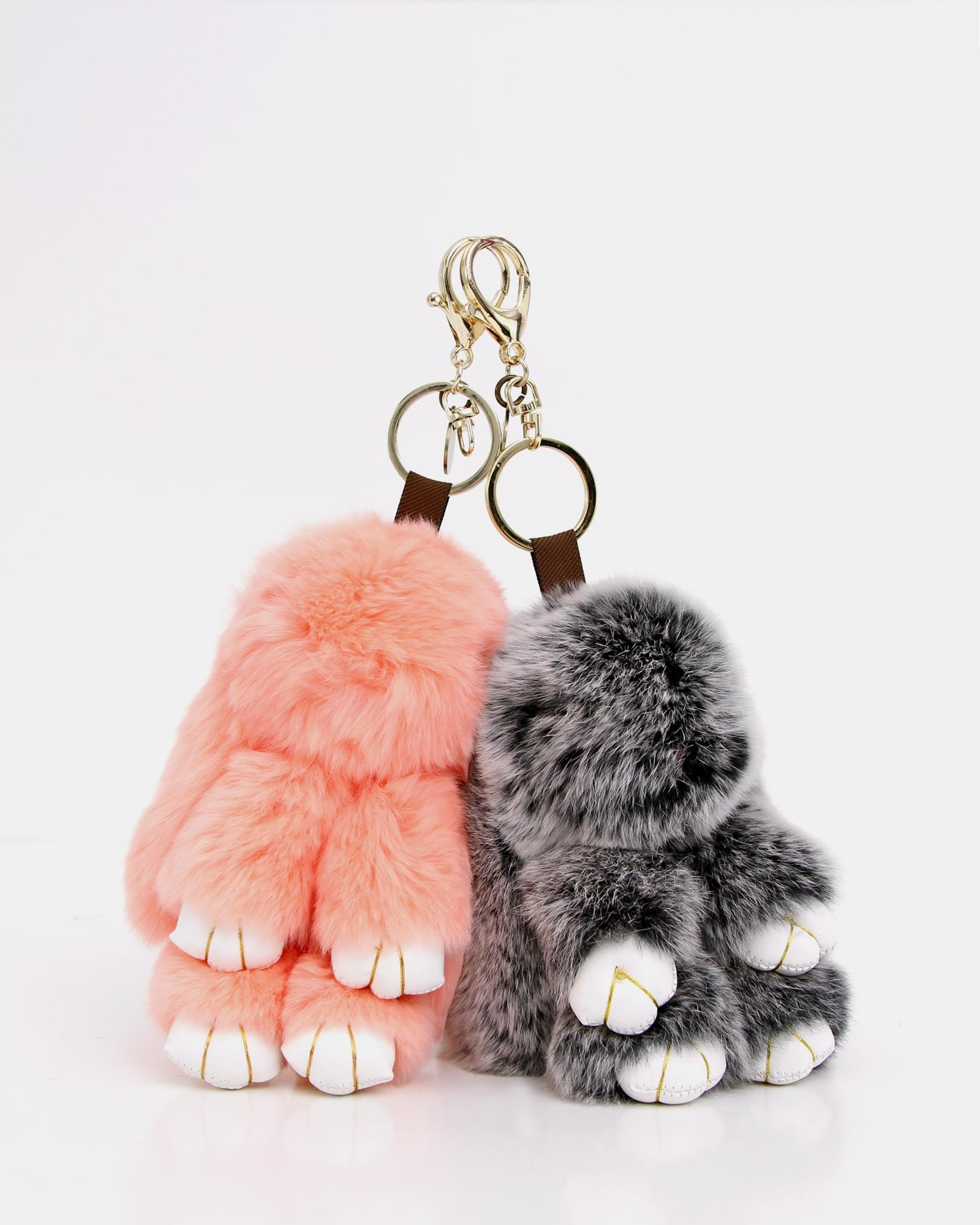 Faux Fur Bunny Keychain 2 Pack 3