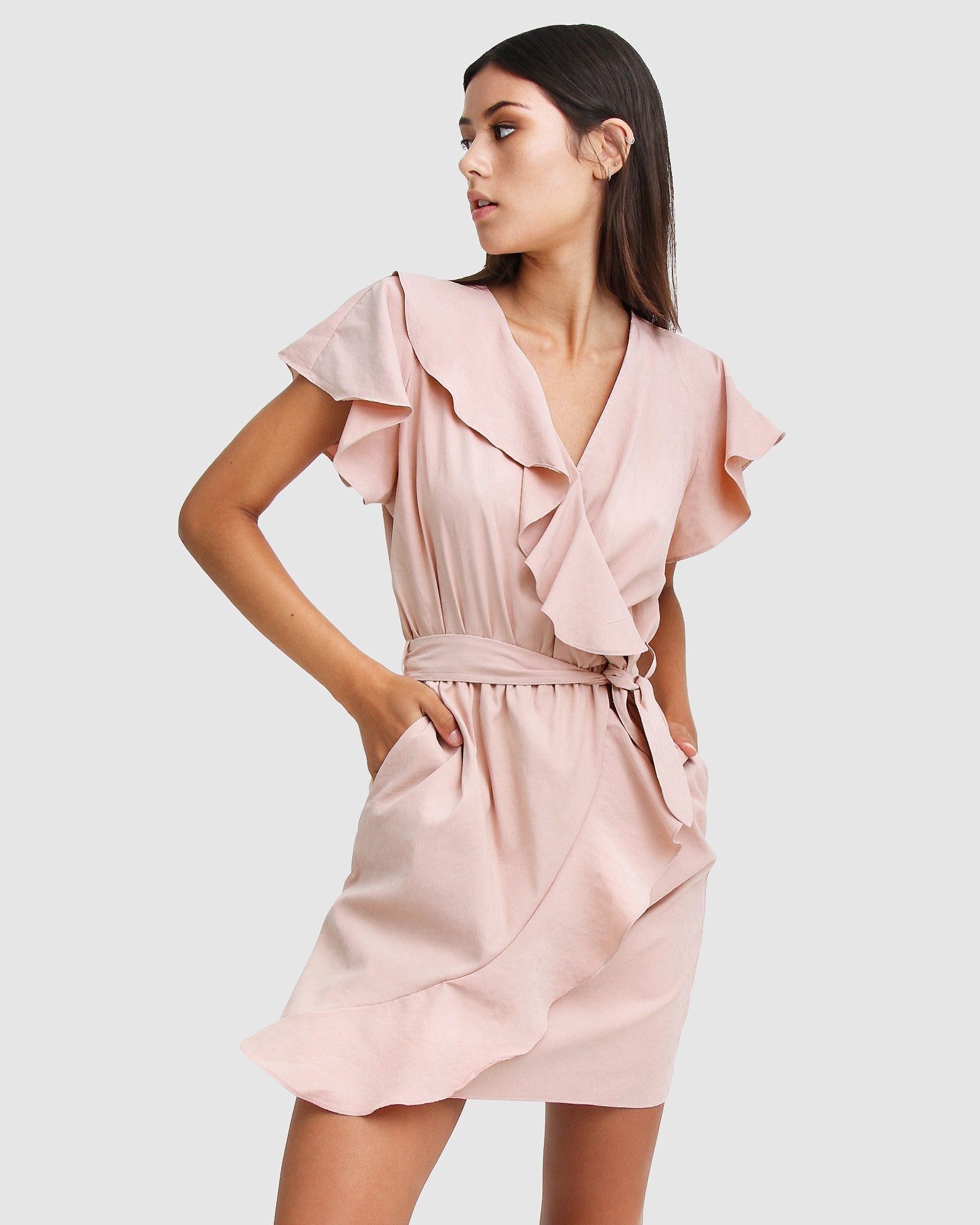 Best Selfie Ruffle Dress - Blush