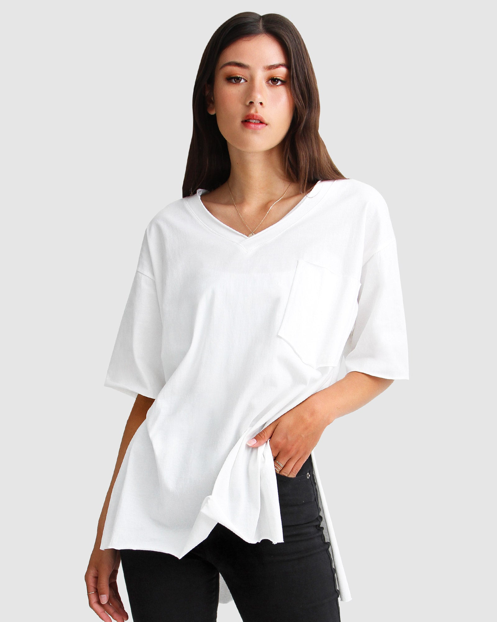 Brave Soul Oversized T-Shirt - White