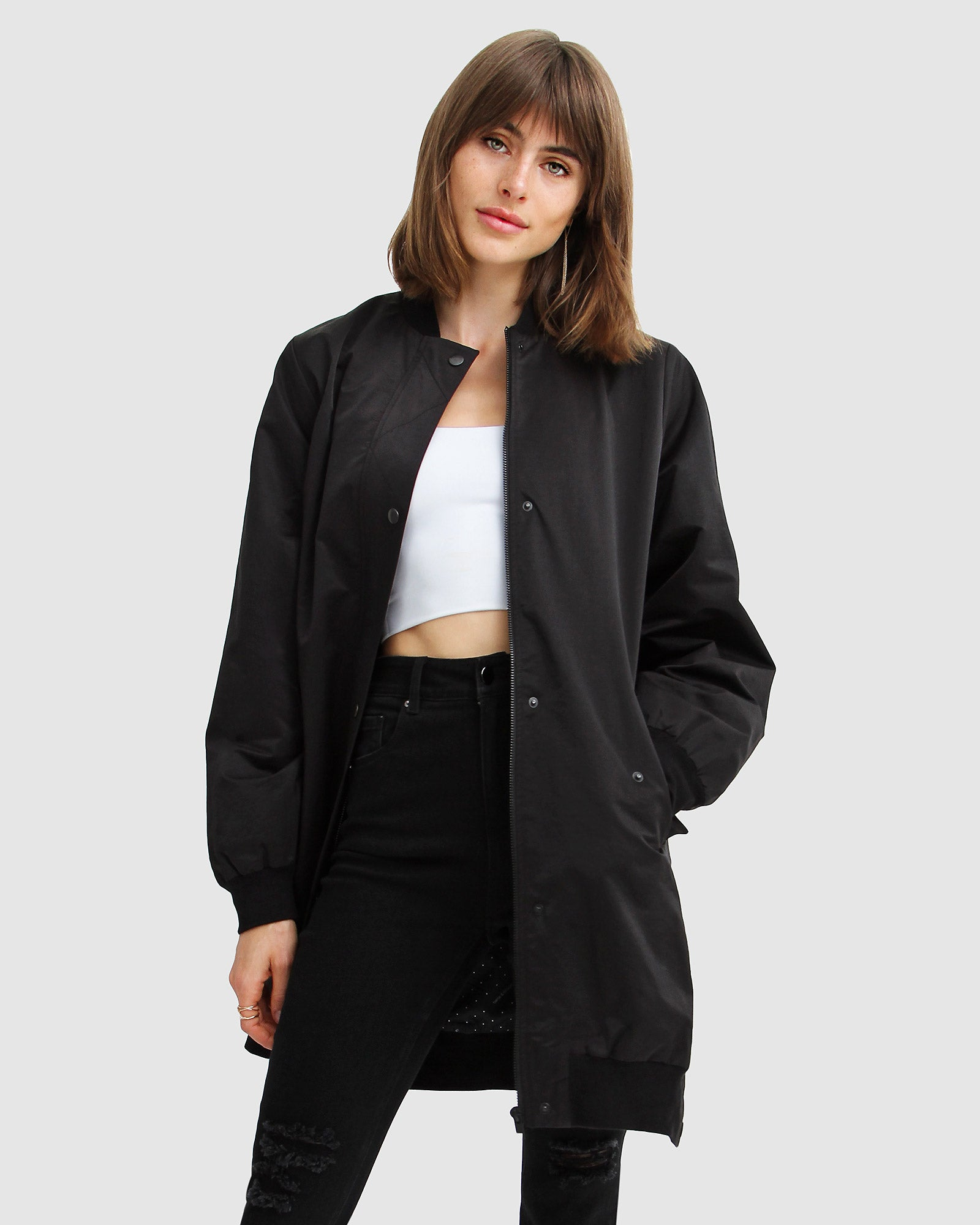 Chasing You Long Bomber Jacket - Black