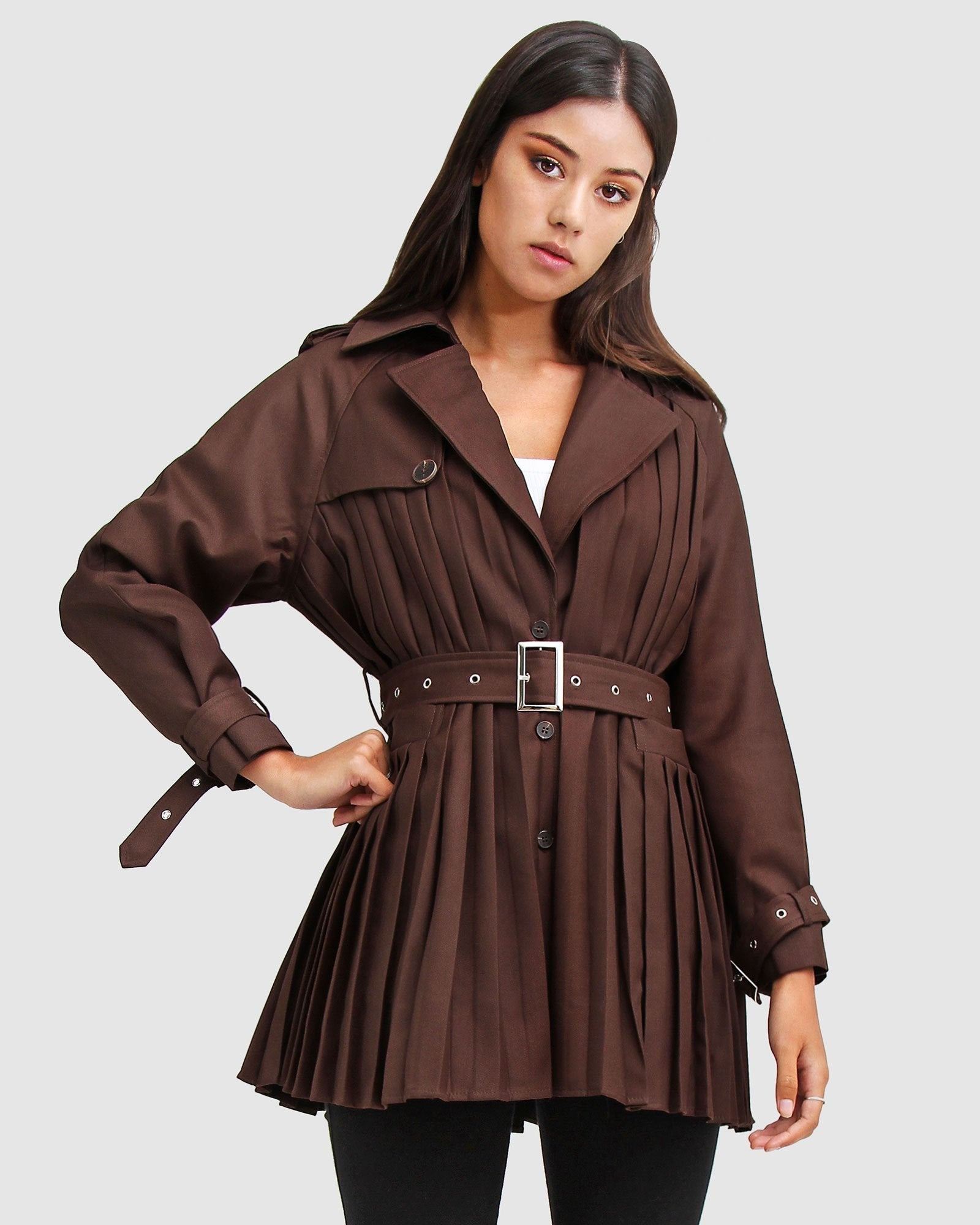 Wish You Were Mine Belted Jacket  - Coffee