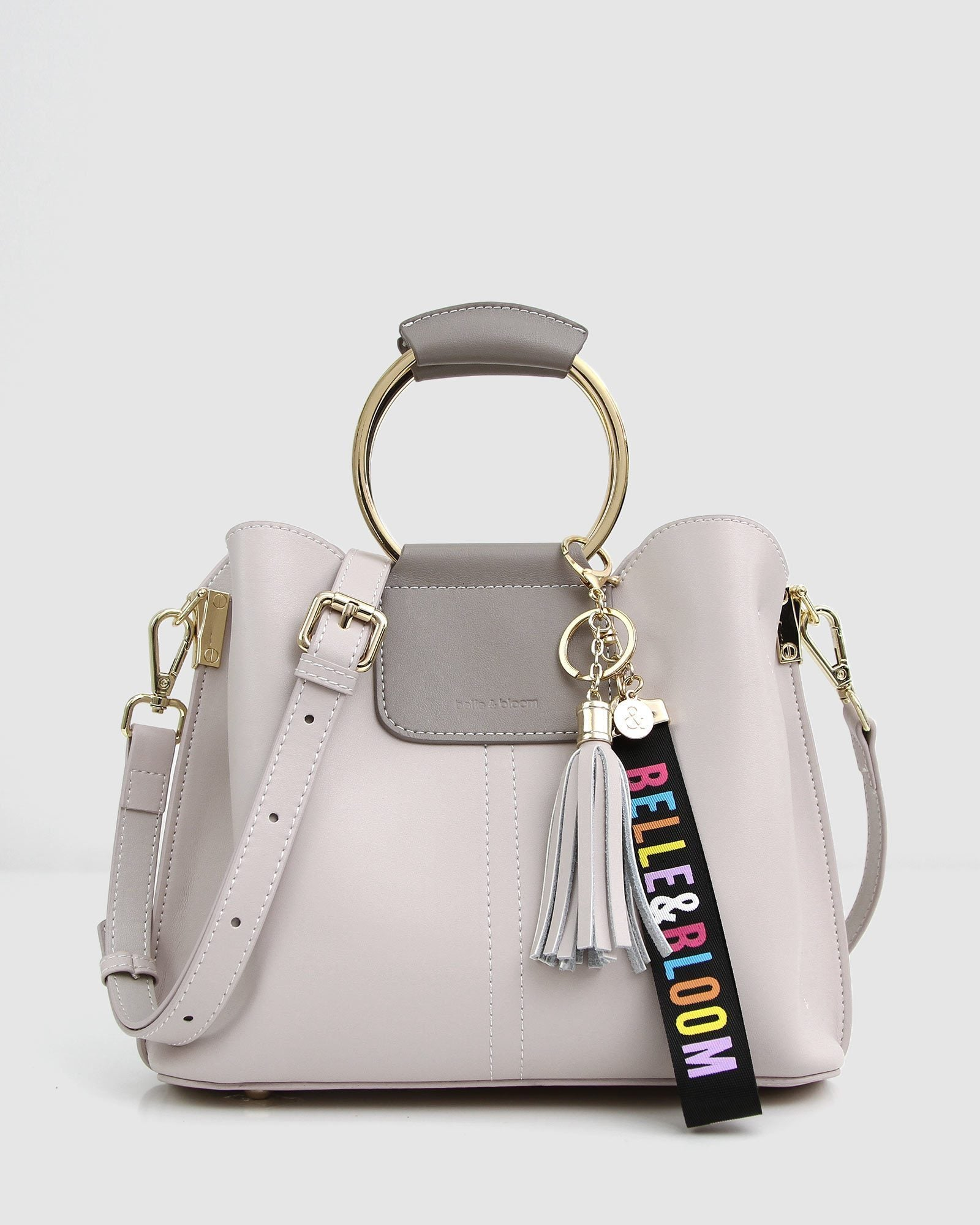Twilight Leather Cross-Body Bag - Cream / Grey