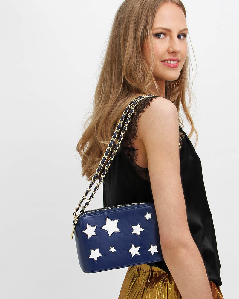 Starry Eyes Leather Cross-Body - Navy