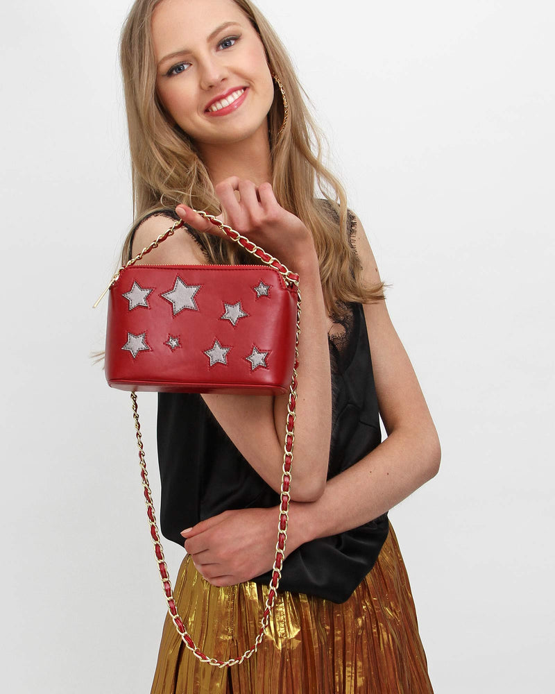 Starry Eyes Leather Cross-Body - Red