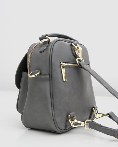 leather backpack blue