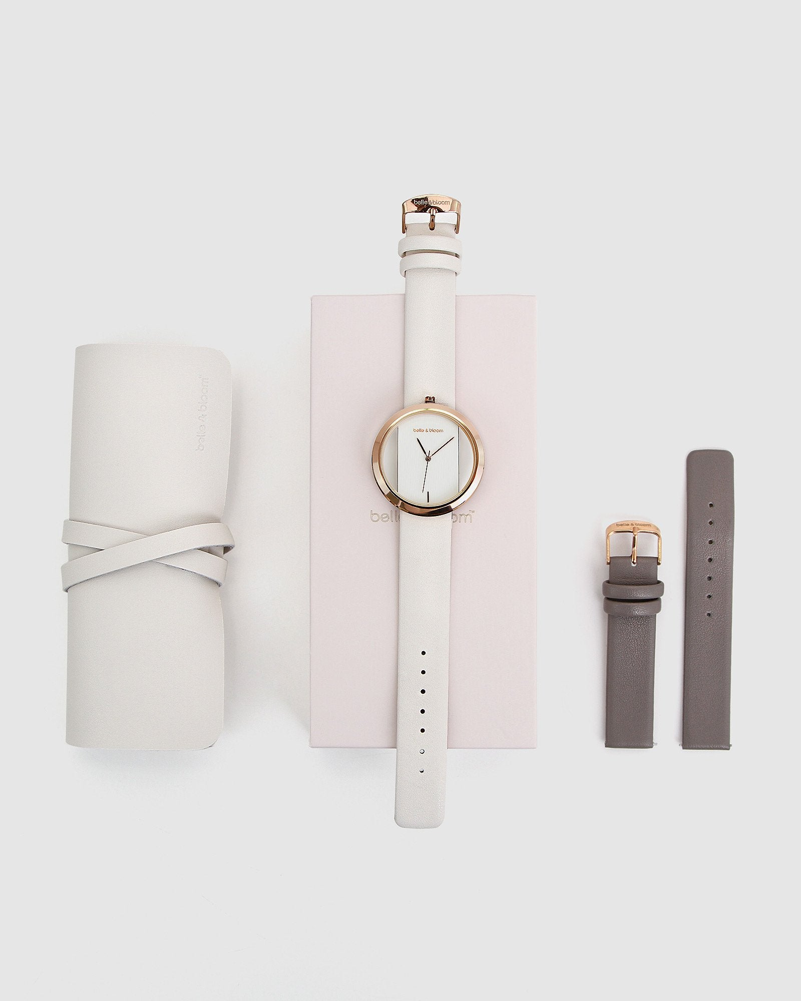 Barcelona Story Watch Gift Set - Ivory/Grey