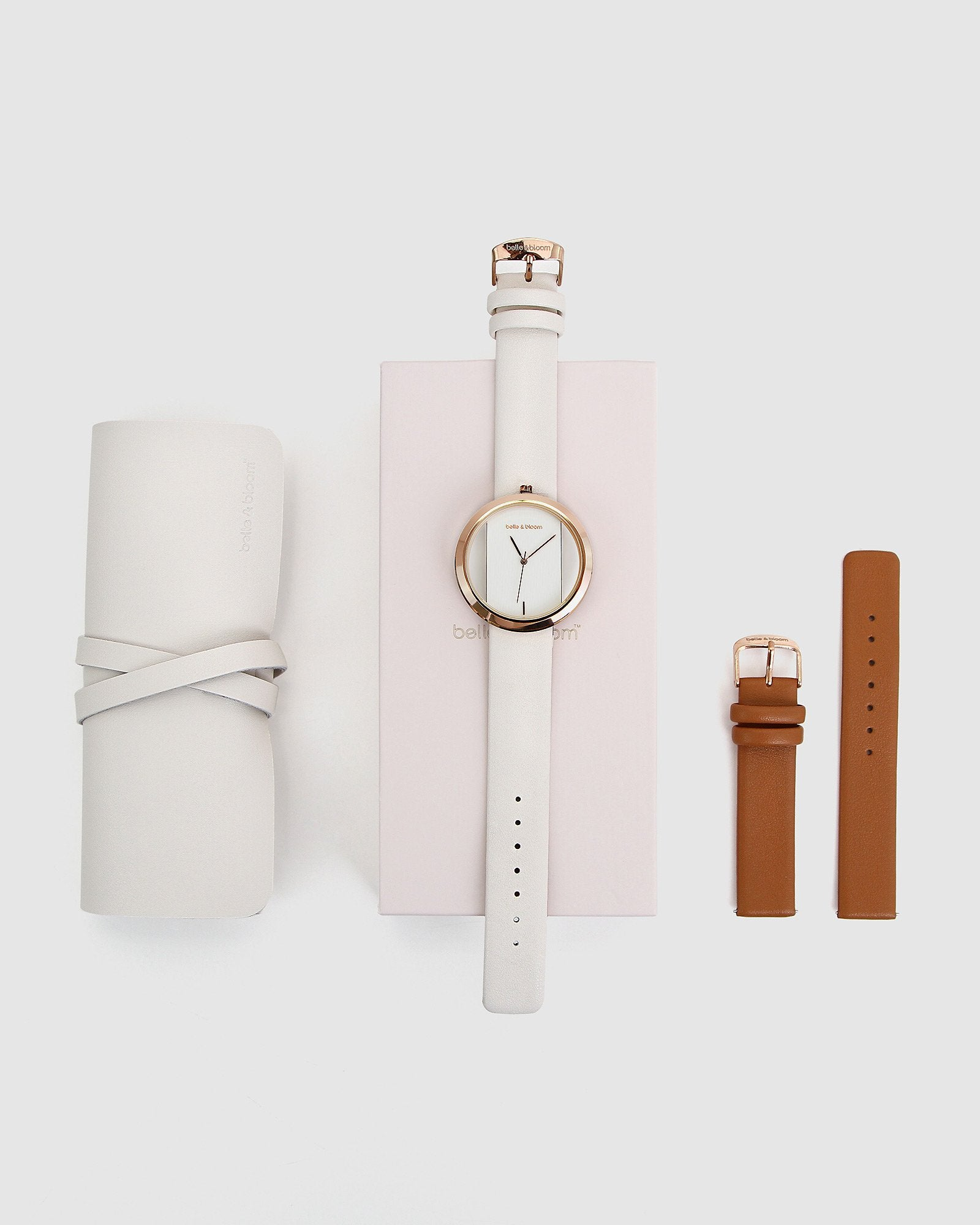 Barcelona Story Watch Gift Set - Ivory/Tan