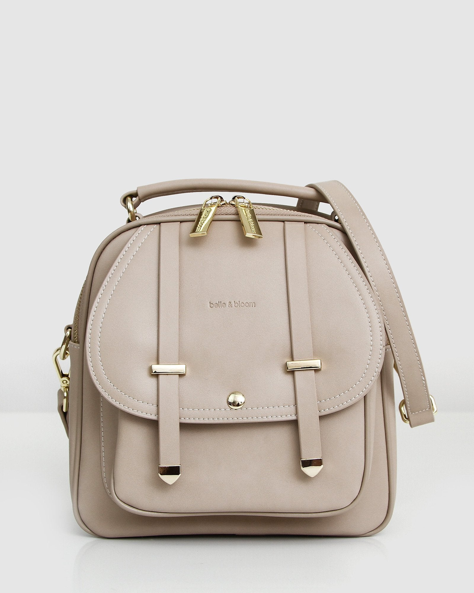 Camila Leather Backpack - Latte