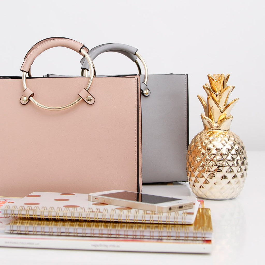 New Palm Mini Leather Satchel - Blush