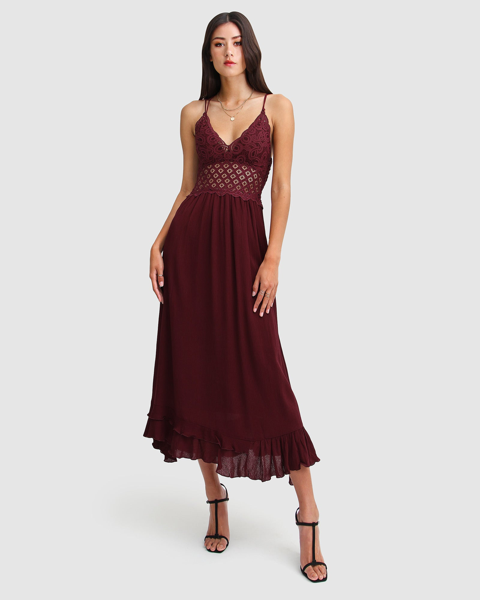 Lost In You Maxi Slip Dress - Burgundy
