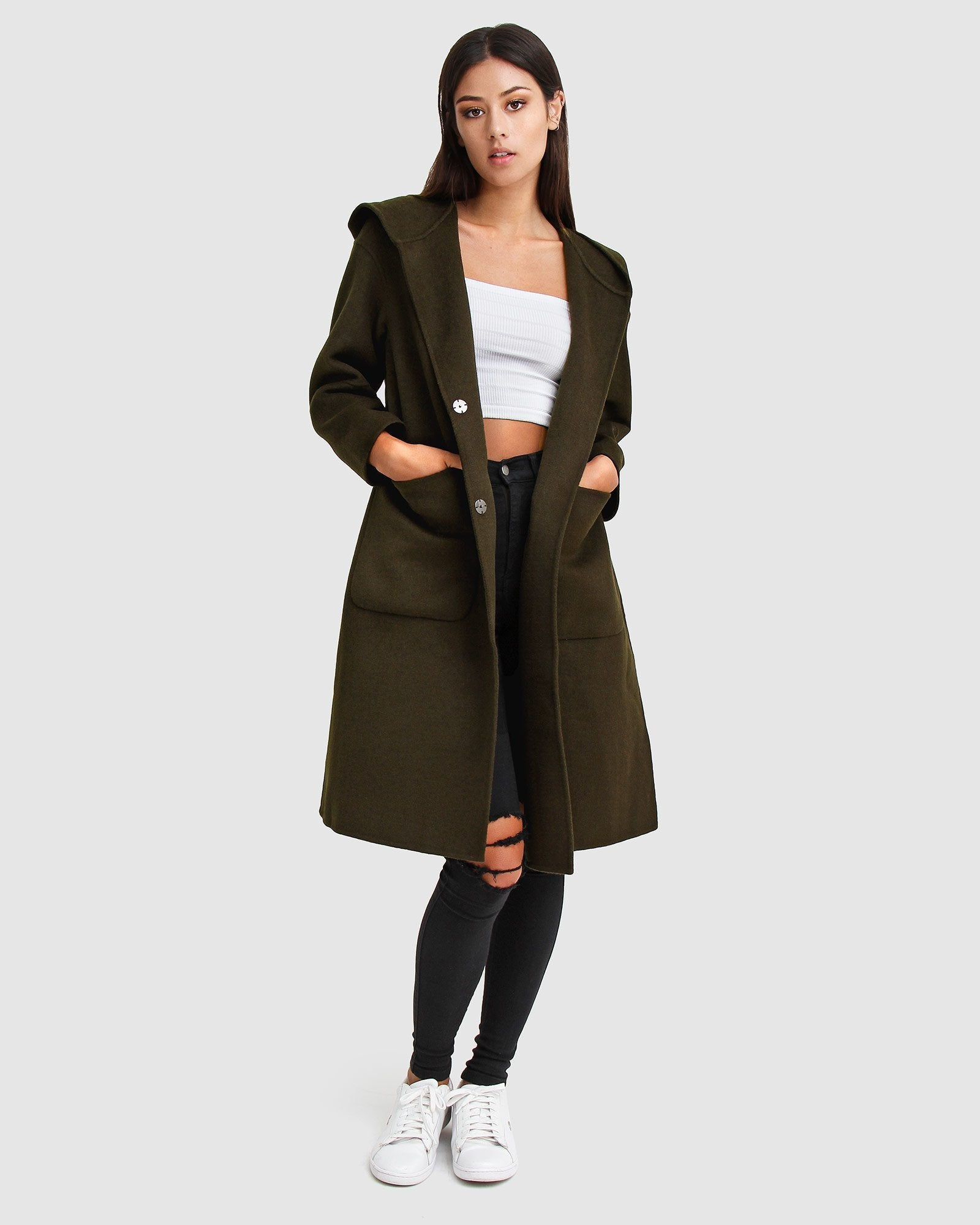 Walk This Way Wool Blend Oversized Coat - Military