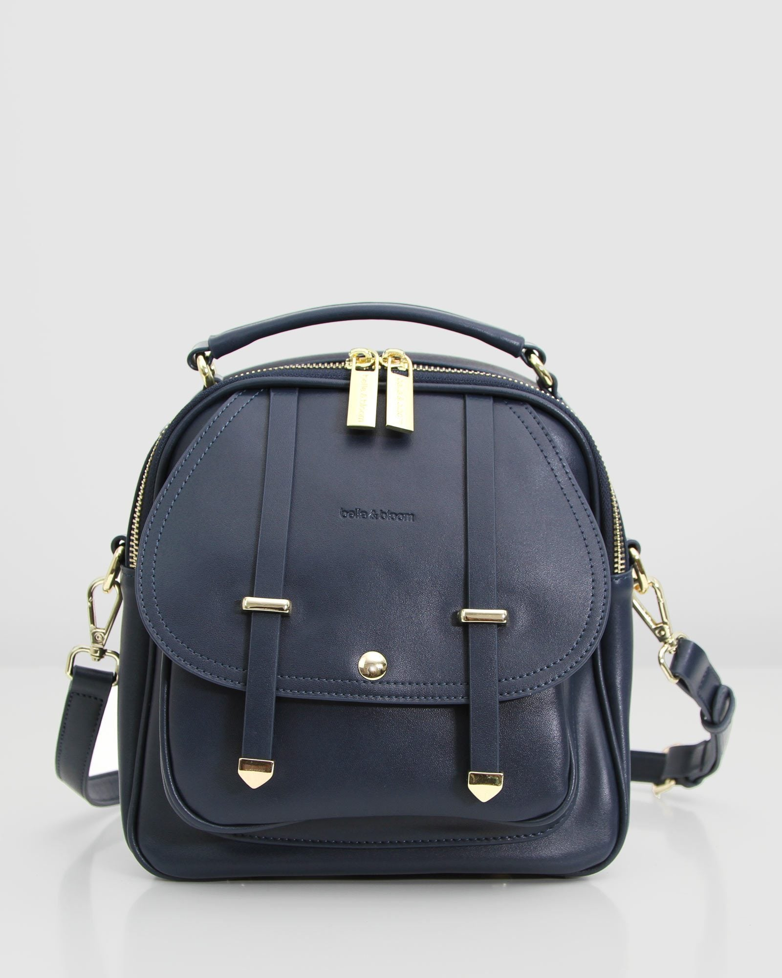 Camila Leather Backpack - Navy