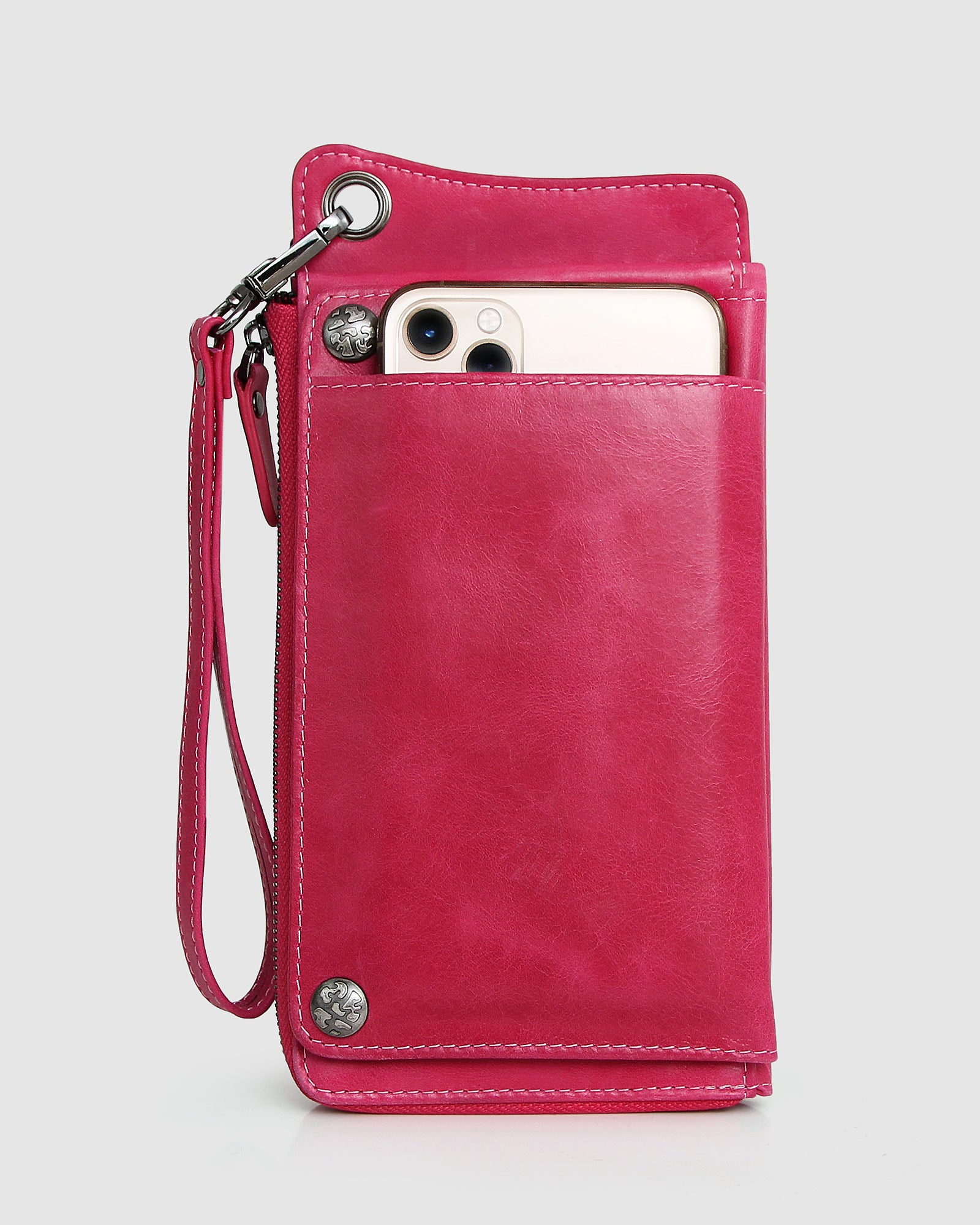 Penelope Leather Wallet - Hot Pink