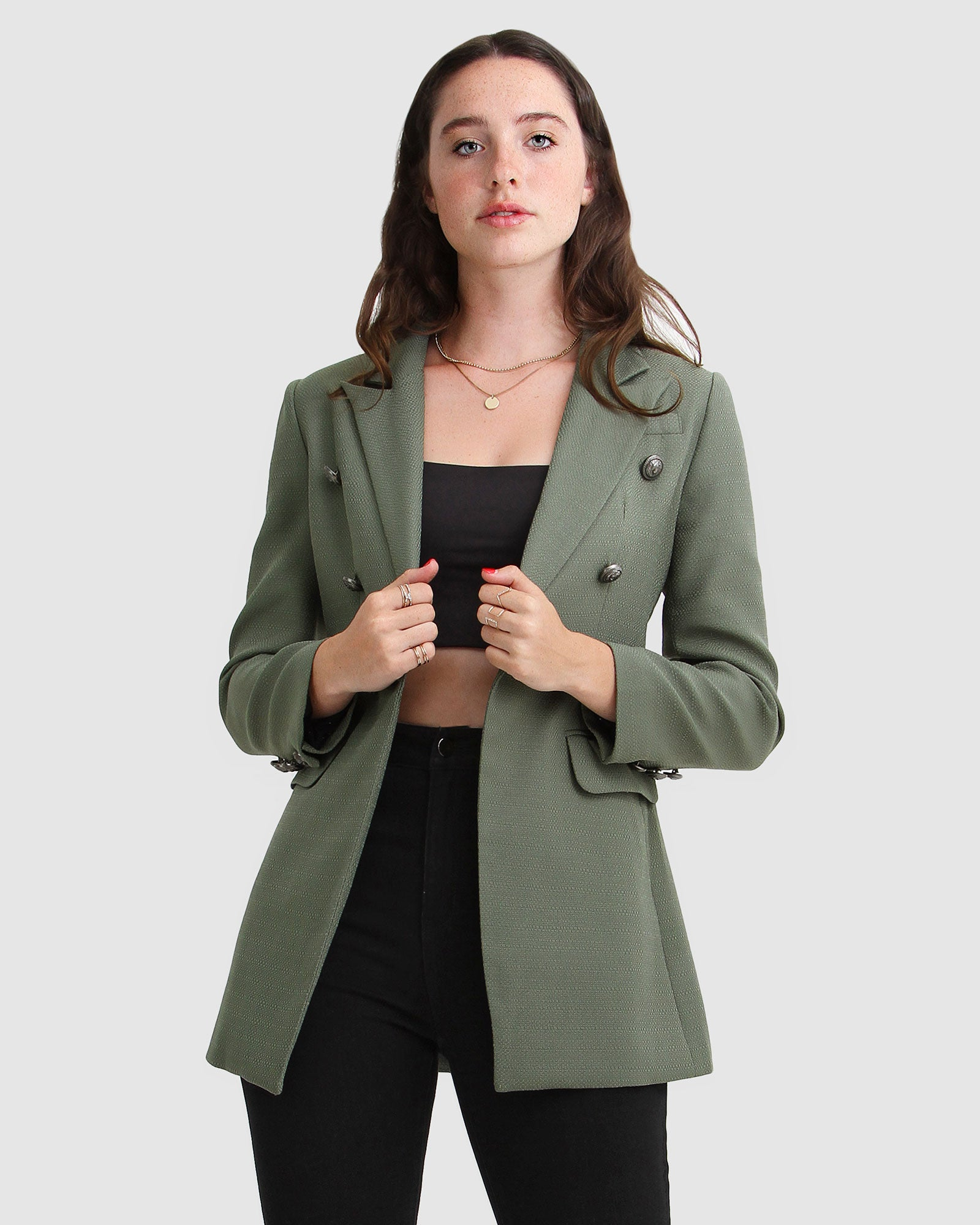 Princess Polly Textured Weave Blazer - Military