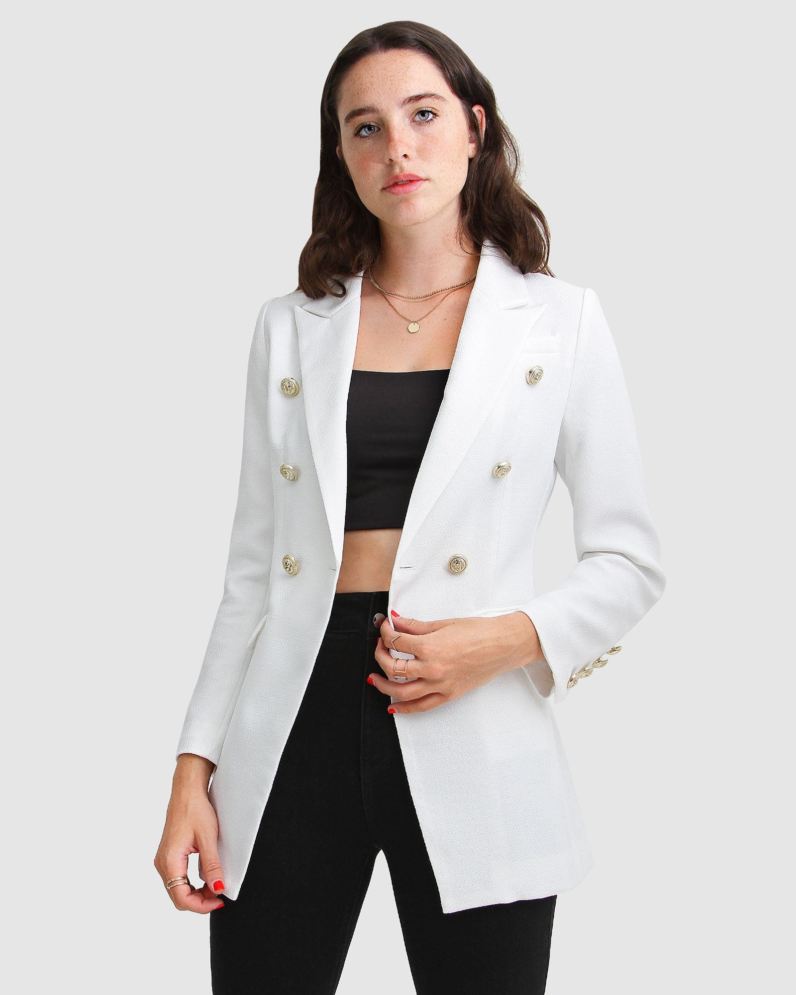 Princess Polly Textured Weave Blazer - White