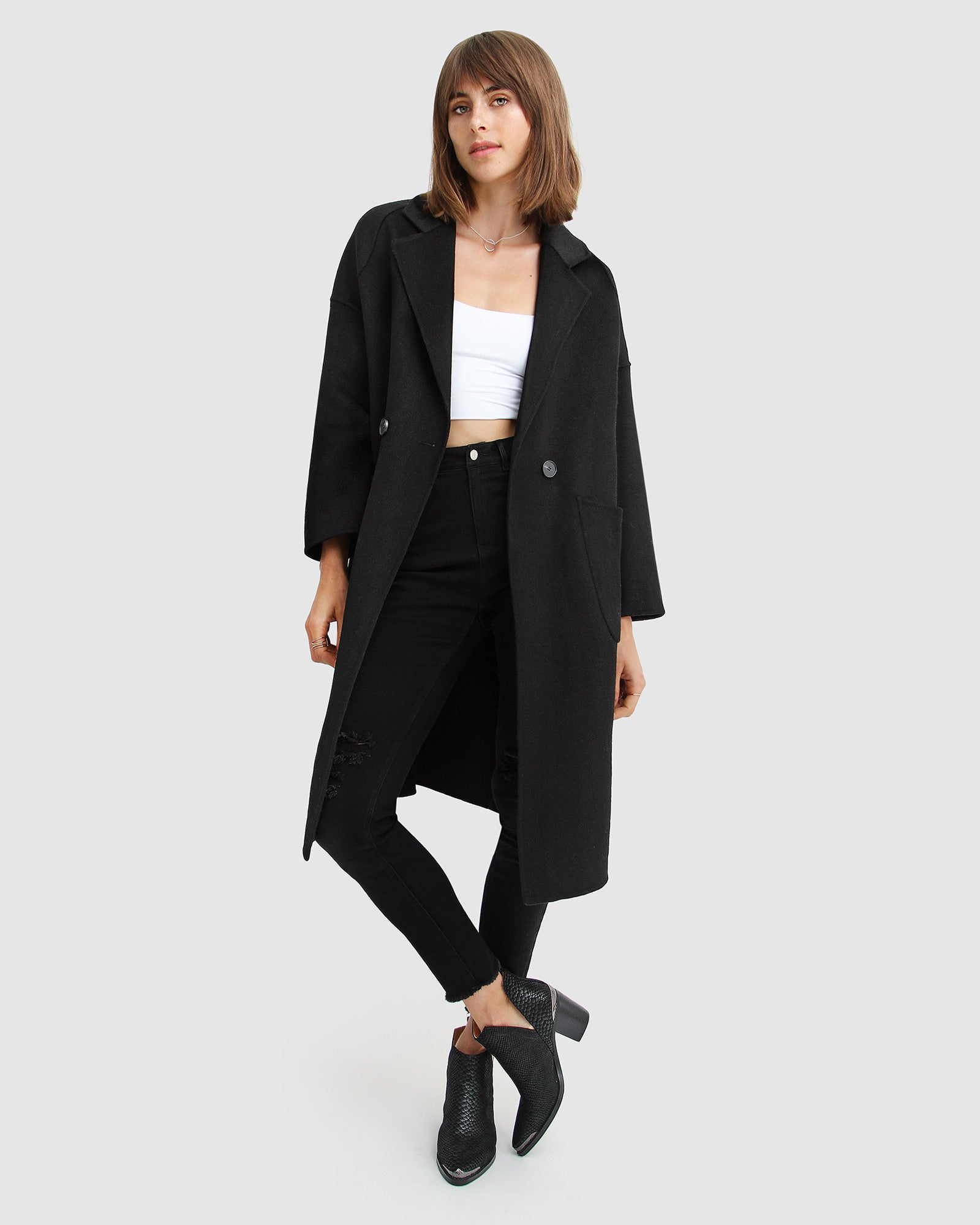 Publisher Double-Breasted Wool Blend Coat - Black