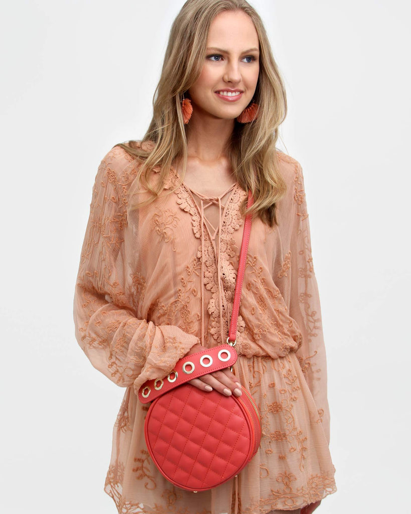Claire - Leather Cross-Body Bag Coral