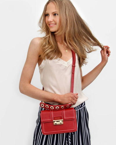 Royal Song Leather Cross Body - Red