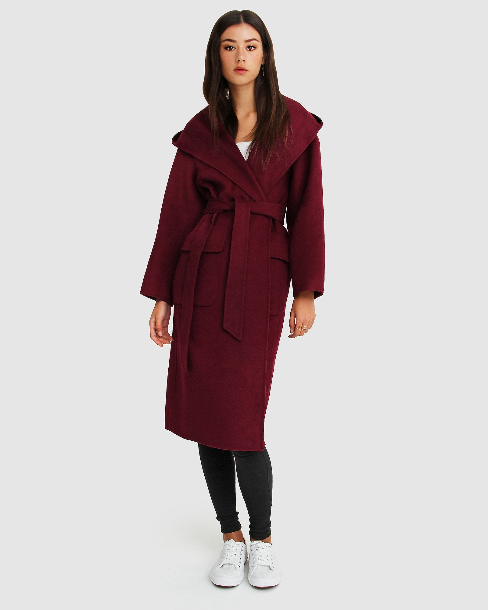 Runaway Wool Blend Robe Coat - Purple